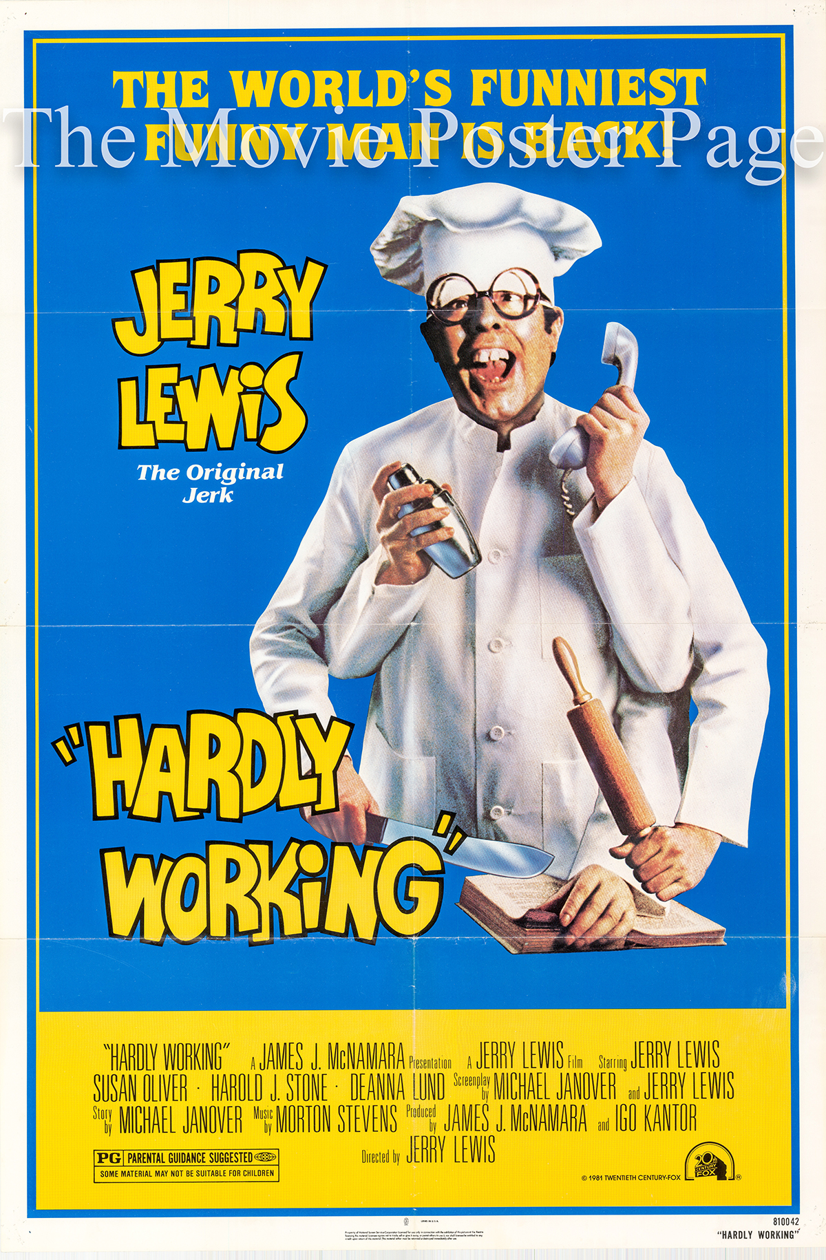 Pictured is a US promotional poster for the 1980 Jerry Lewis film Hardly Working starring Jerry Lewis.