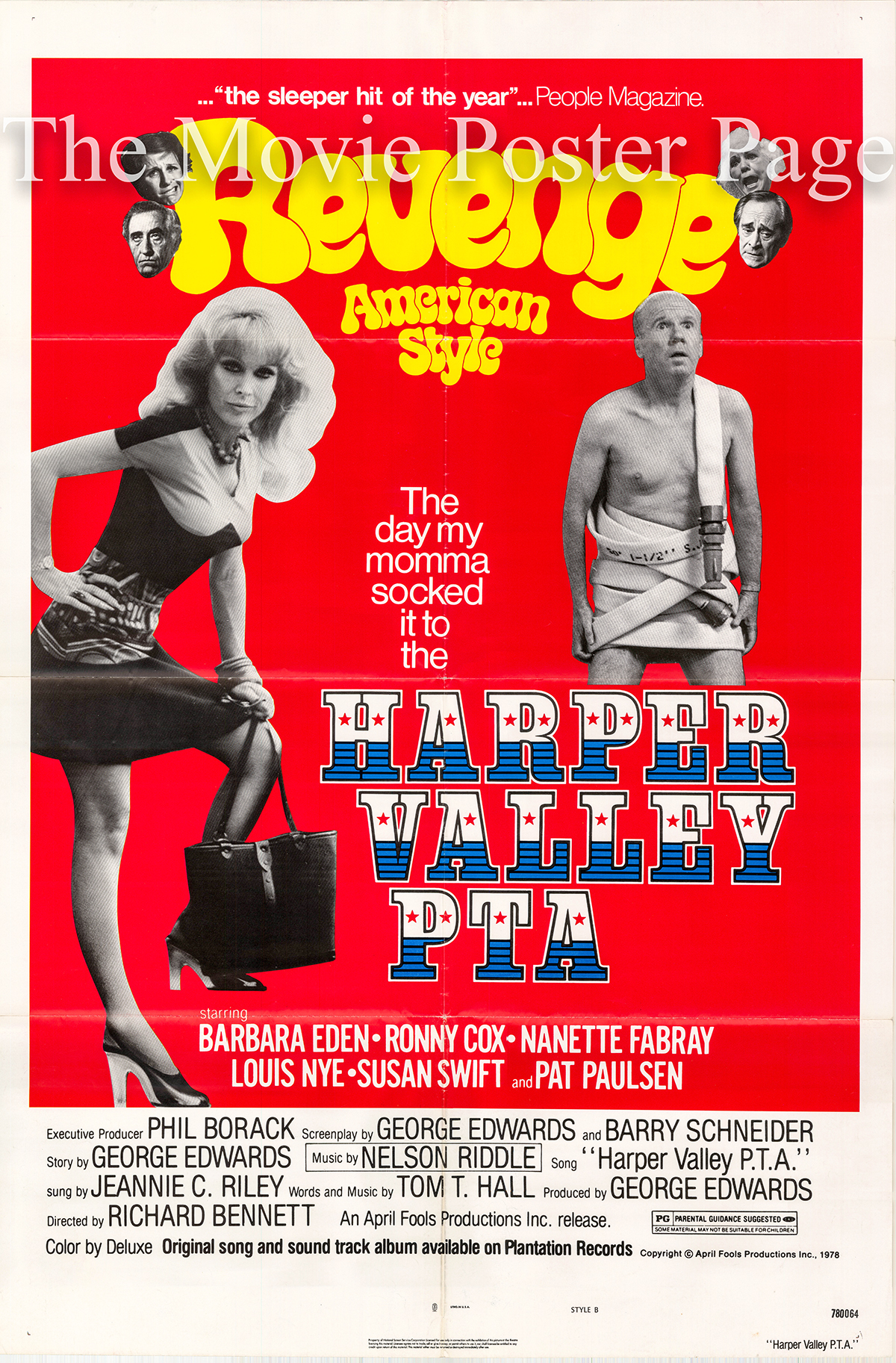 Pictured is a US promotional one-sheet poster for the 1978 Richard Bennett film Harper Valley P.T.A. starring Barbara Eden as Stella Johnson.
