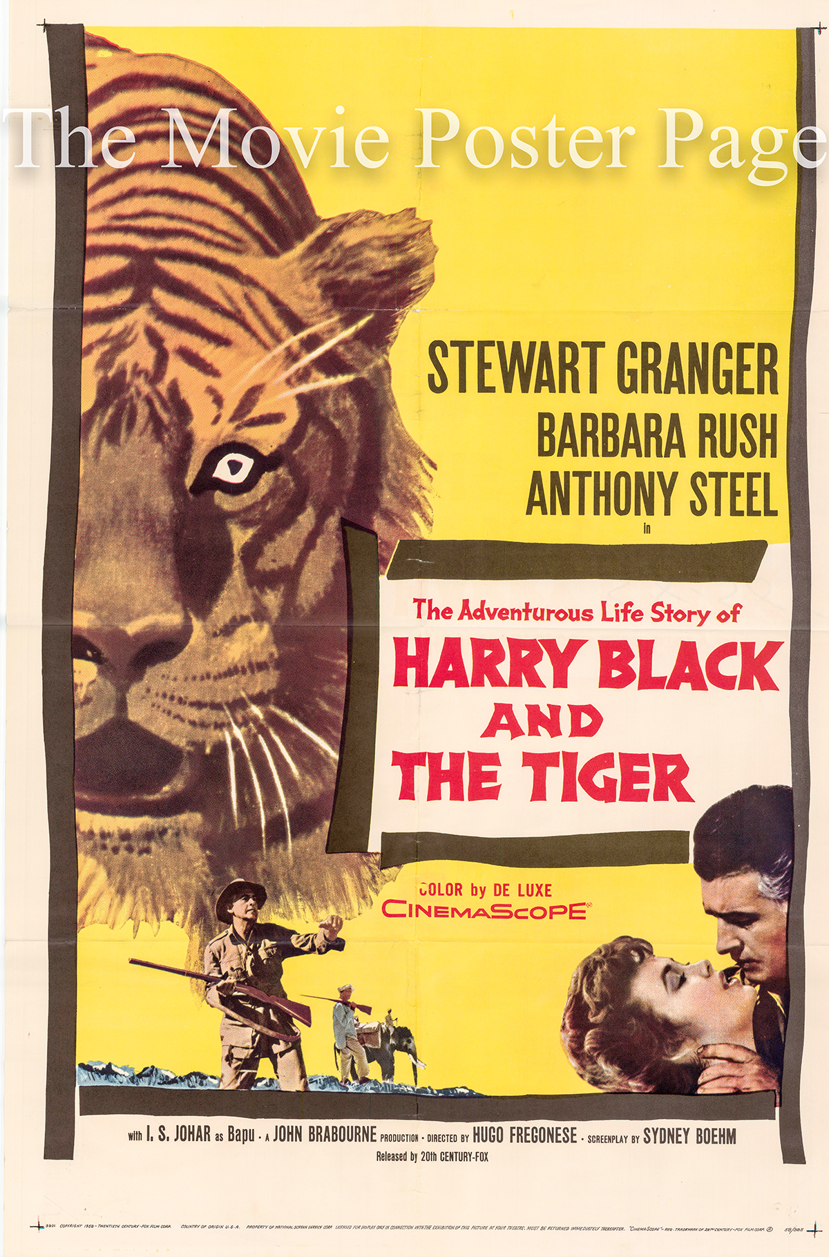 Pictured is a US one-sheet promotional poster for the 1958 Hugo Fregonese film Harry Black and the Tiger starring Stewart Granger as Harry Black.