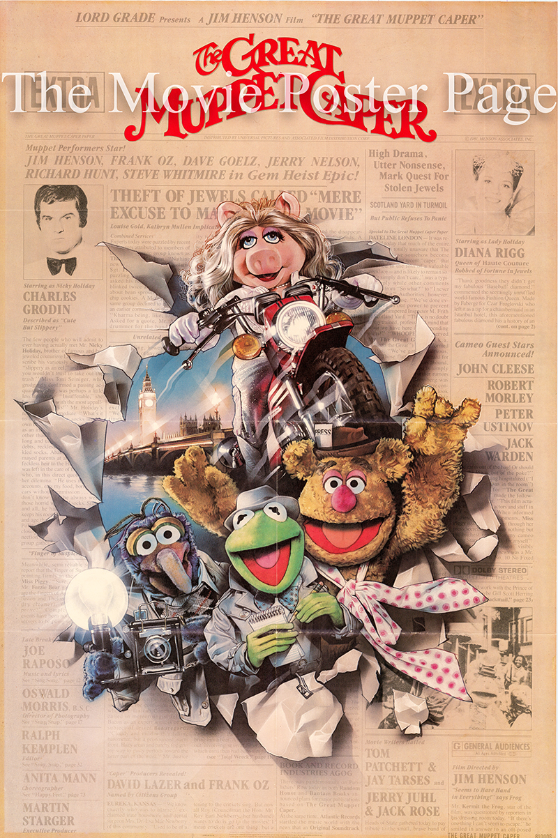 Pictured is a US one-sheet poster for the 1981 Jim Henson film The Great Muppet Caper starring Jim Henson as Kermit the Frog.