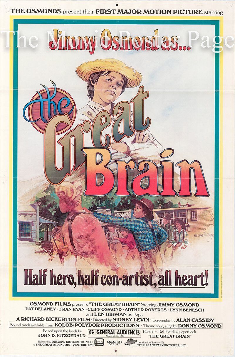 Pictured is a US one-sheet poster for the 1978 Sidney Levin film The Great Brain starring Jimmy Osmond.
