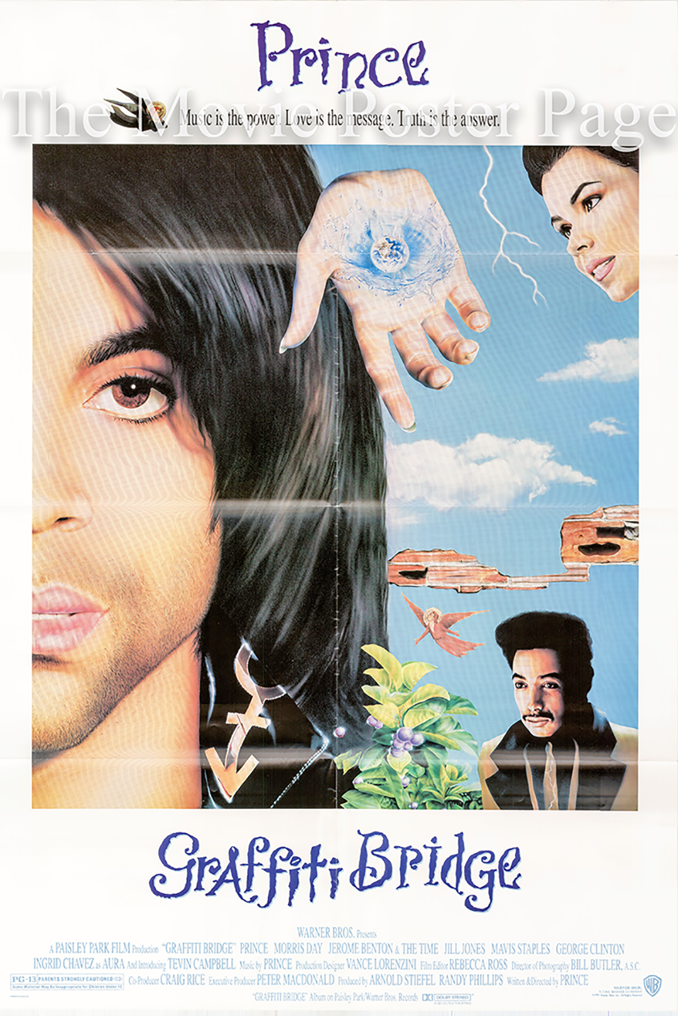 Pictured is a US promotional poster for the 1990 Prince film Graffiti Bridge starring Prince.