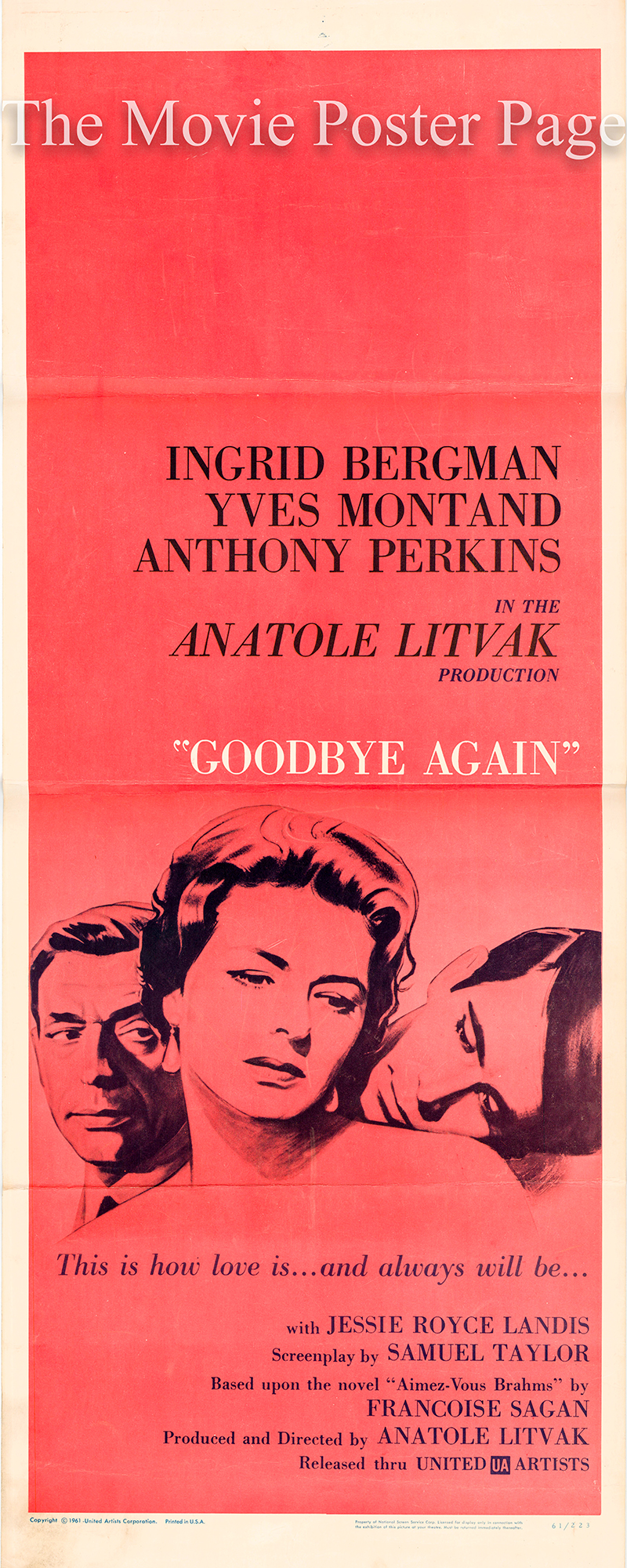 Pictured is a US insert poster for the 1961 Anatole Litvak film Goodbye Again starring Ingrid Bergman.