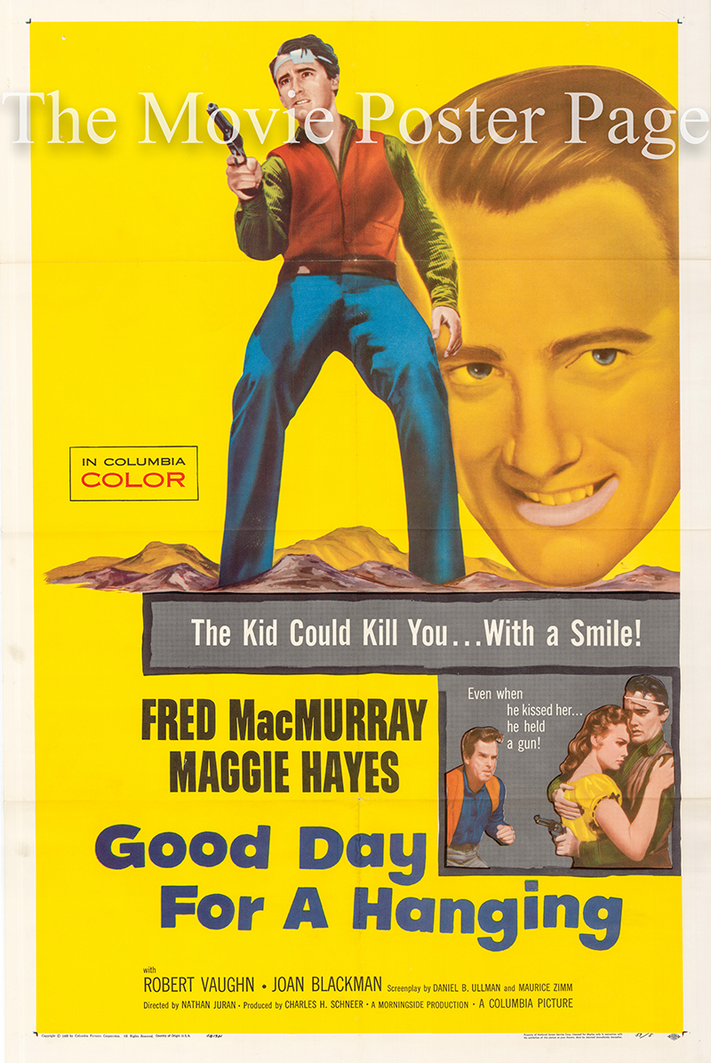 Pictured is a US one-sheet for the 1959 Nathan Juran film Good Day for a Hanging starring Fred MacMurray.