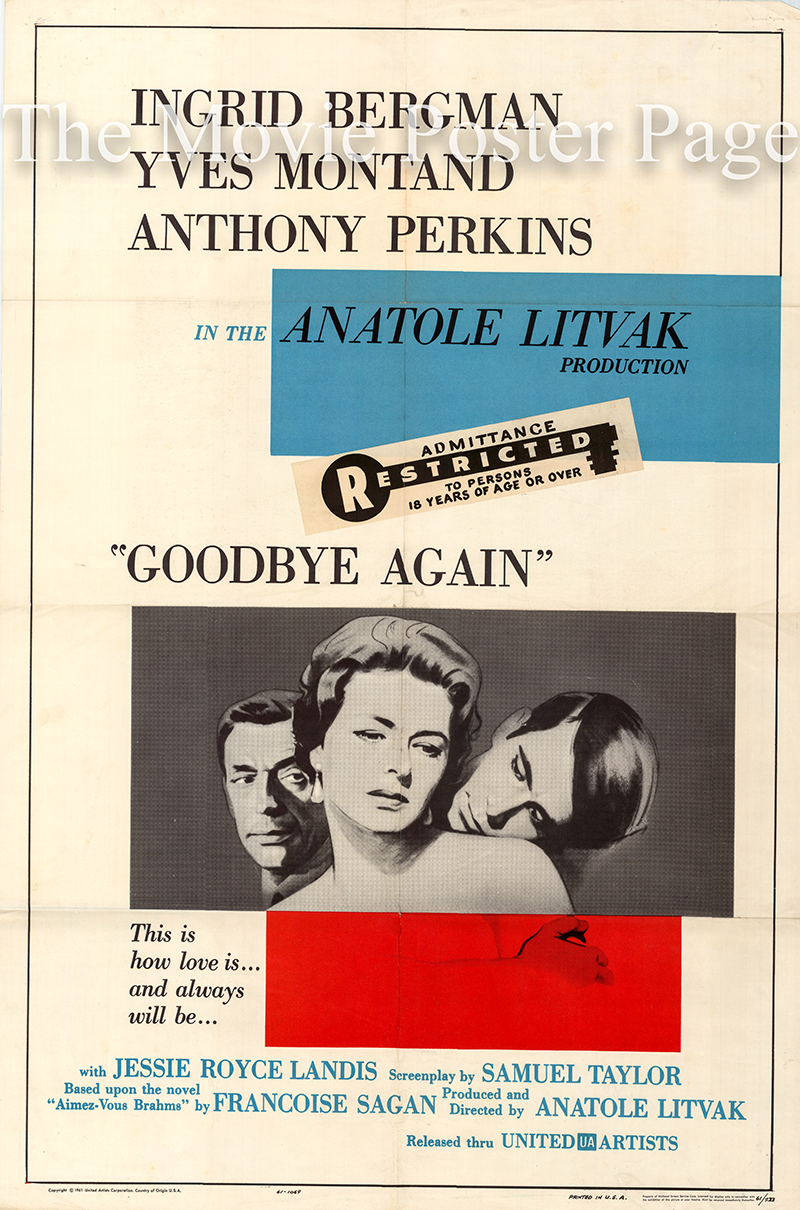 Pictured is a US one-sheet poster for the 1961 Anatole Litvak film Goodbye Again starring Ingrid Bergman.
