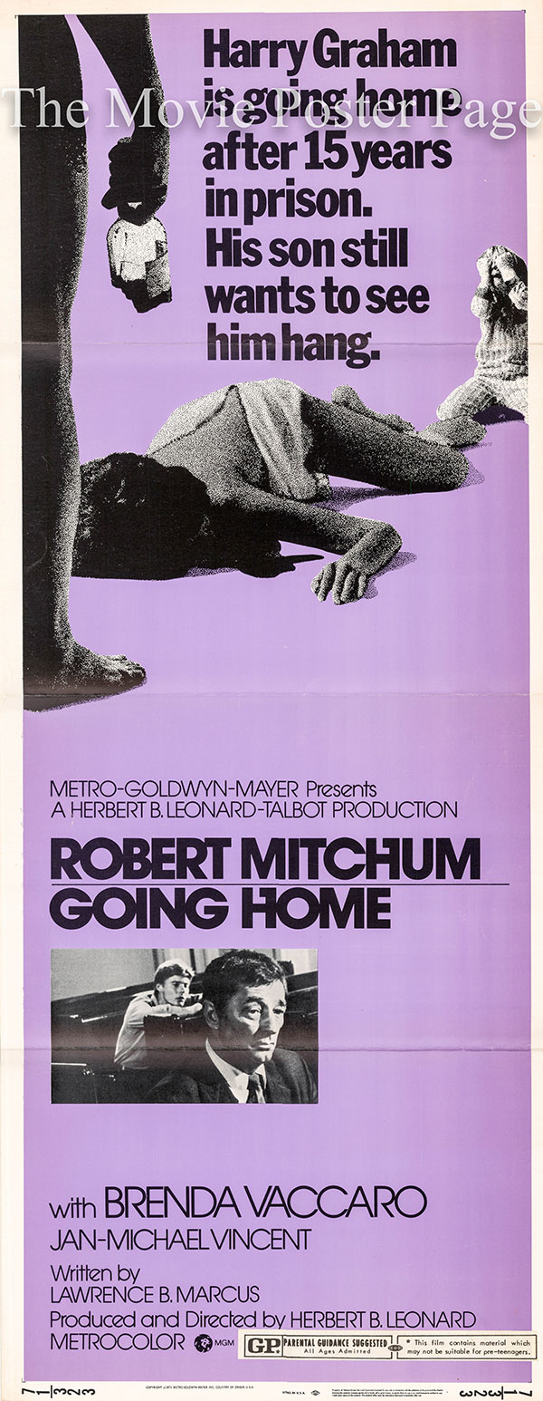 Pictured is a US insert poster for the 1971 Herbert B. Leonard film Going Home starring Robert Mitchum.