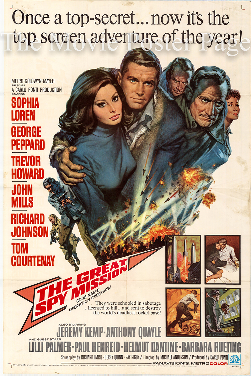 Pictured is a US one-sheet poster for the 1965 Michael Anderson film The Great Spy Mission starring Sophia Loren.