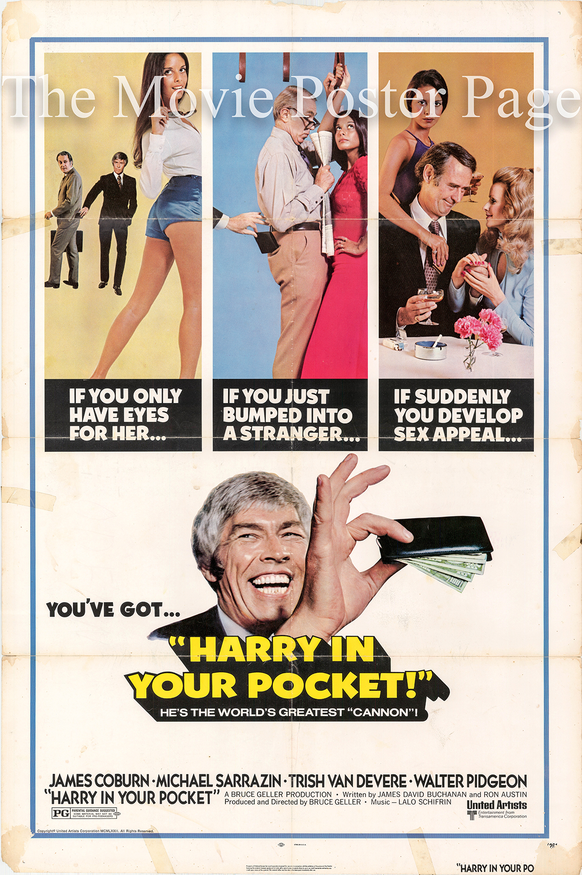 Pictured is a US one-sheet poster the 1973 Bruce Geller film Harry in Your Pocket starring James Coburn as Harry.
