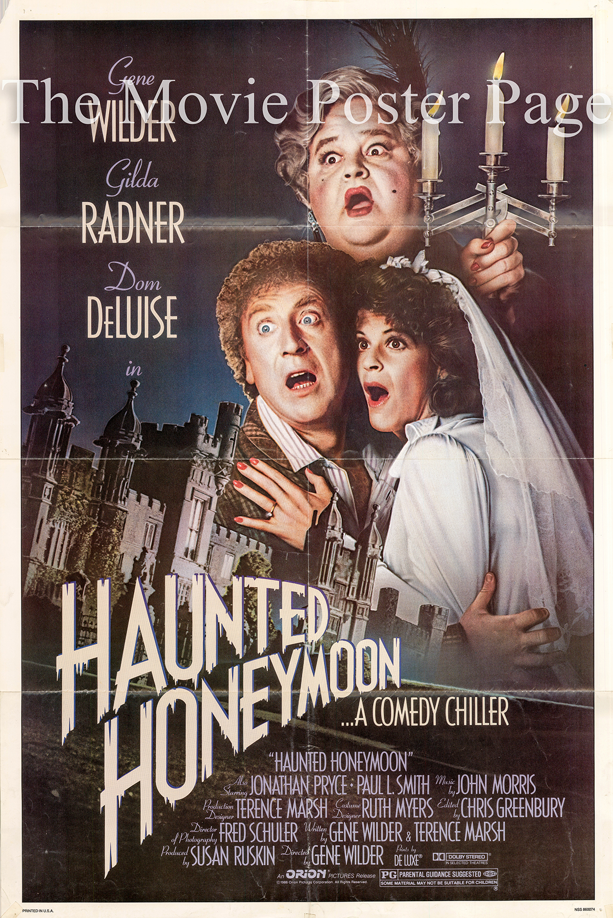 Pictured is a US one-sheet poster for the 1986 Gene Wilder film Haunted Honeymoon starring Gene Wilder as Larry Abbot.