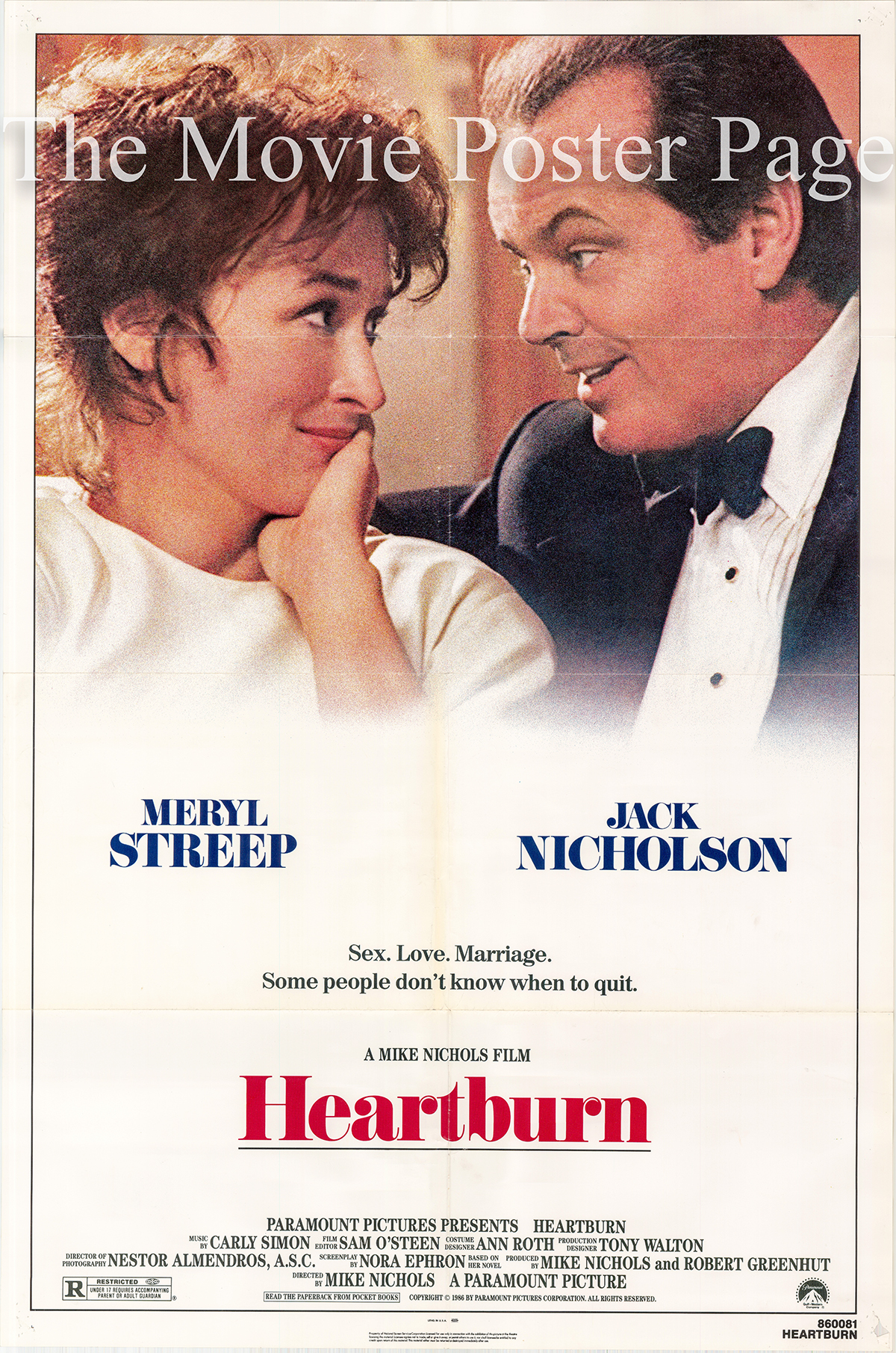 Pictured is a US one-sheet poster for the 1986 Mike Nichols film Heartburn starring Jack Nicholson and Meryl Streep.