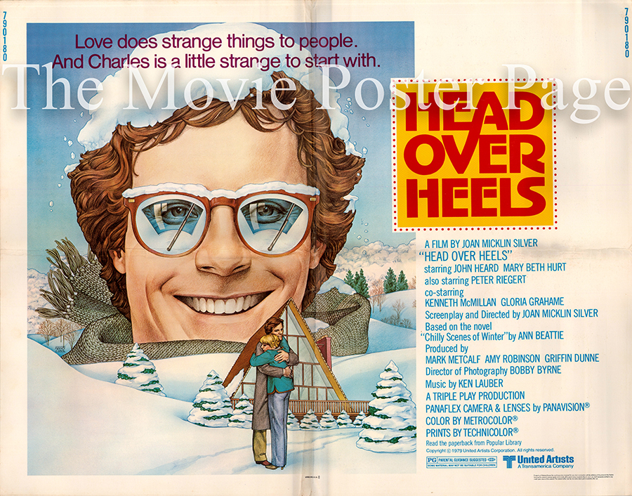 Pictured is a US half-sheet poster for the 1979 Joan Micklin Silver film Head Over Heals starring John Heard as Charles.
