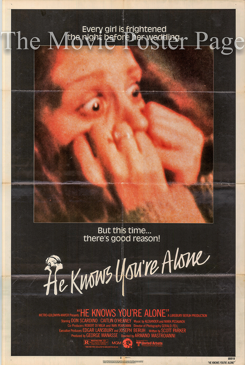 Pictured is a US one-sheet poster for the 1980 Armand Mastroianni film He Knows You're Alone starring Don Scardino as Marvin.