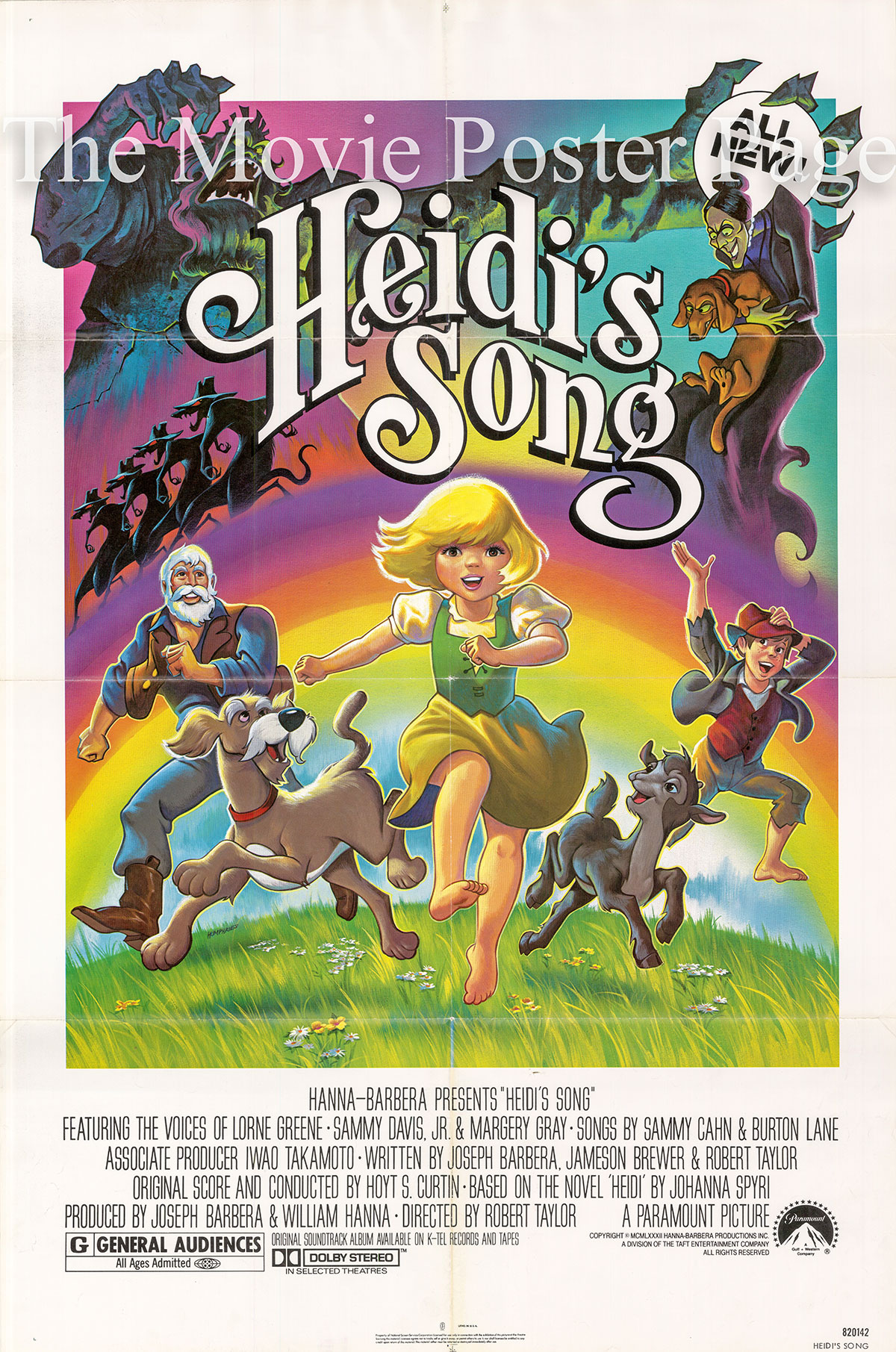 Pictured is a US one-sheet for the 1982 Robert Taylor film Heidi's Song starring Lorne Greene.