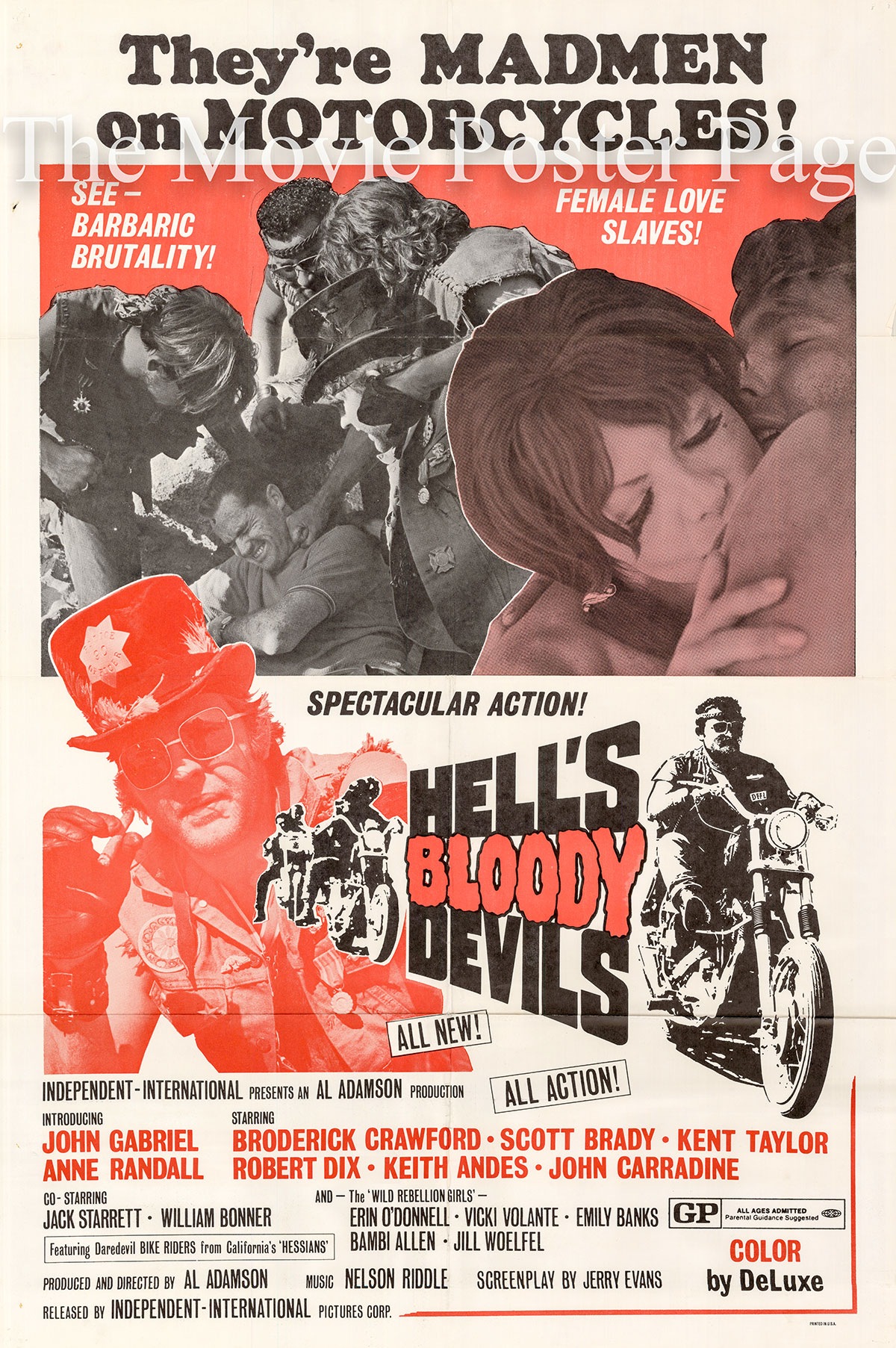 Pictured is a US promotional one-sheet poster for the 1970 Al Adamson film Hell's Bloody Devils starring John Carradine.