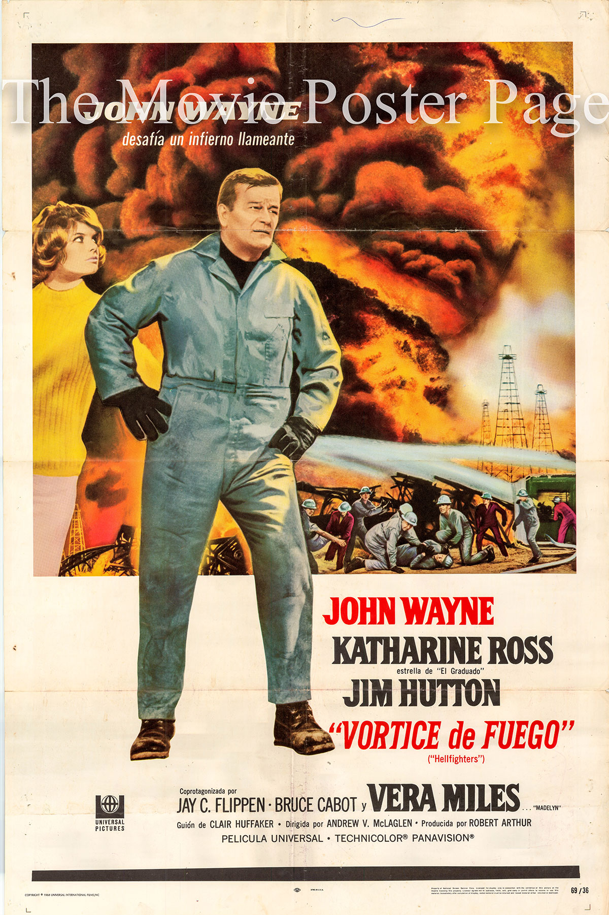 Pictured is a Spanish promotional one-sheet poster for the 1969 Andrew V. McLaglen film Hellfighters starring John Wayne as Chance Buckman.