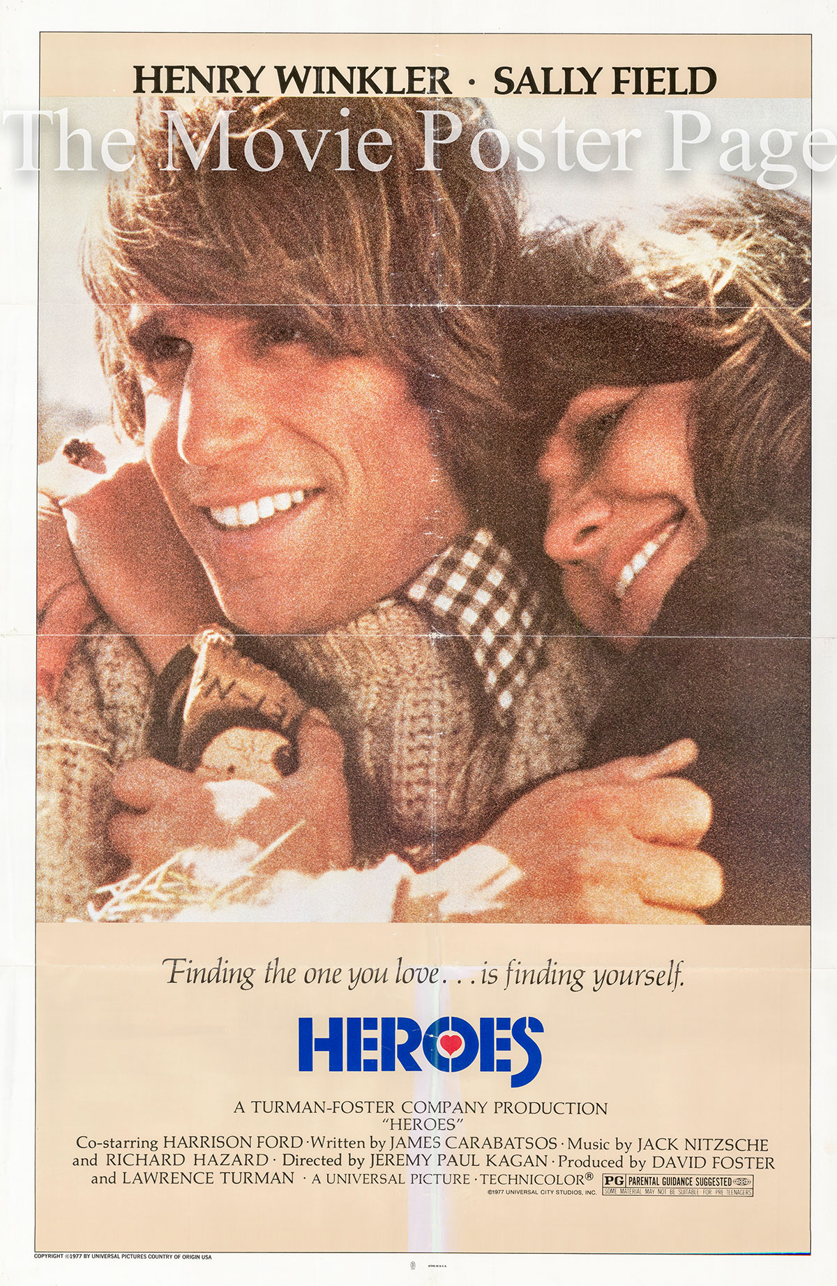 Pictured is a US one-sheet promotional poster for the 1977 Jeremy Paul Kagan film Heroes starring Sally Field.