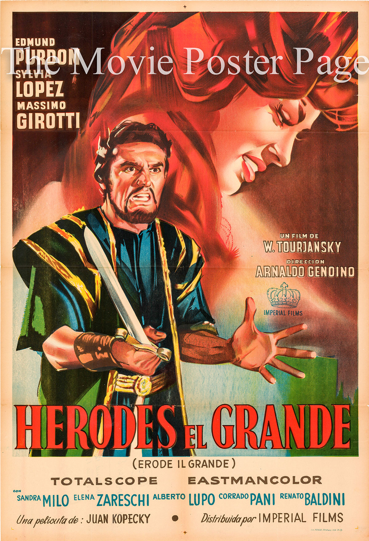 Pictured is an Argentine one-sheet poster for the 1958 Viktor Tourjansky film Herod the Great starring Edmund Purdom as Herod.