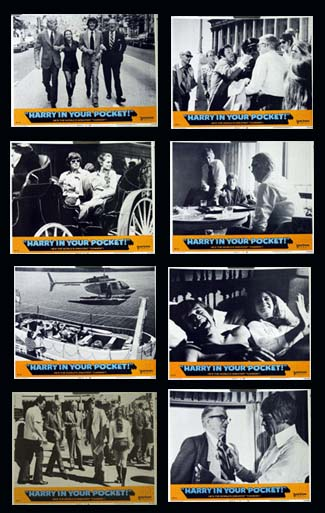 Pictured is a US lobby card set for the 1973 Bruce Geller film Harry in your pocket starring James Coburn as Harry.