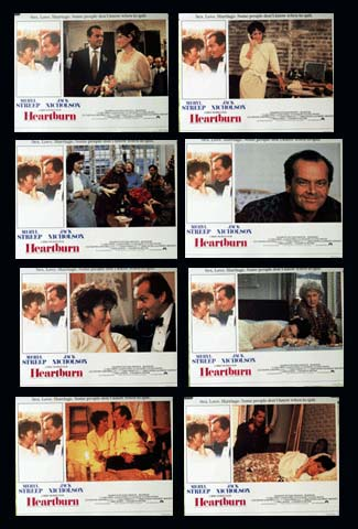 Pictured is a US lobby card set for the 1986 Mike Nichols and Robert Greenhut film Heartburn starring Jack Nicholson and Merle Streep.