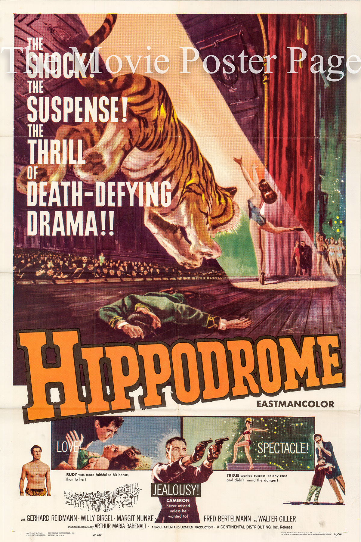 Pictured is a US promotional poster for the 1962 Arthur Maria Rabenalt film Hippodrome starring Gerhard Riedmann.