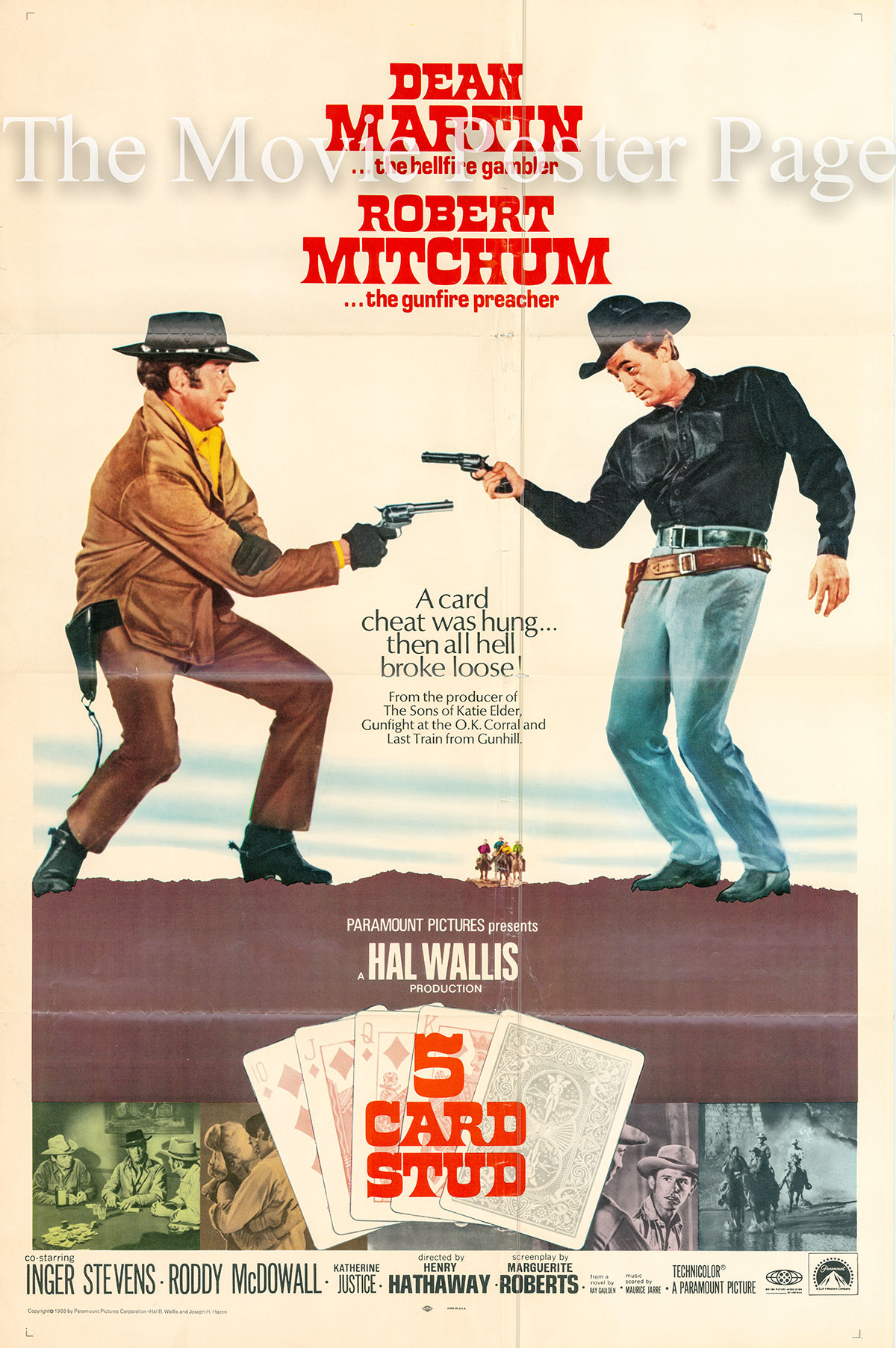 Pictured is a US one-sheet promotional poster for the 1968 Henry Hathaway film Five Card Stud starring Dean Martin and Robert Mitchum.