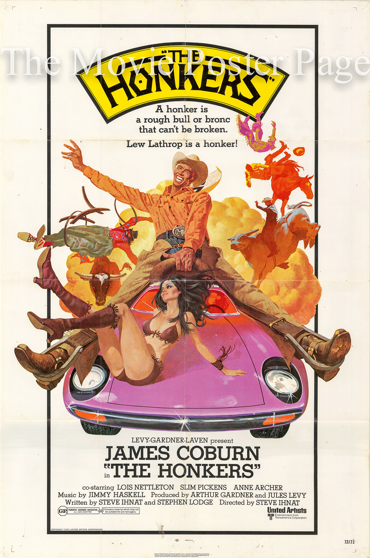 Pictured is a US one-sheet promotional poster for the 1972 Steve Ihnat film The Honkers starring James Coburn.