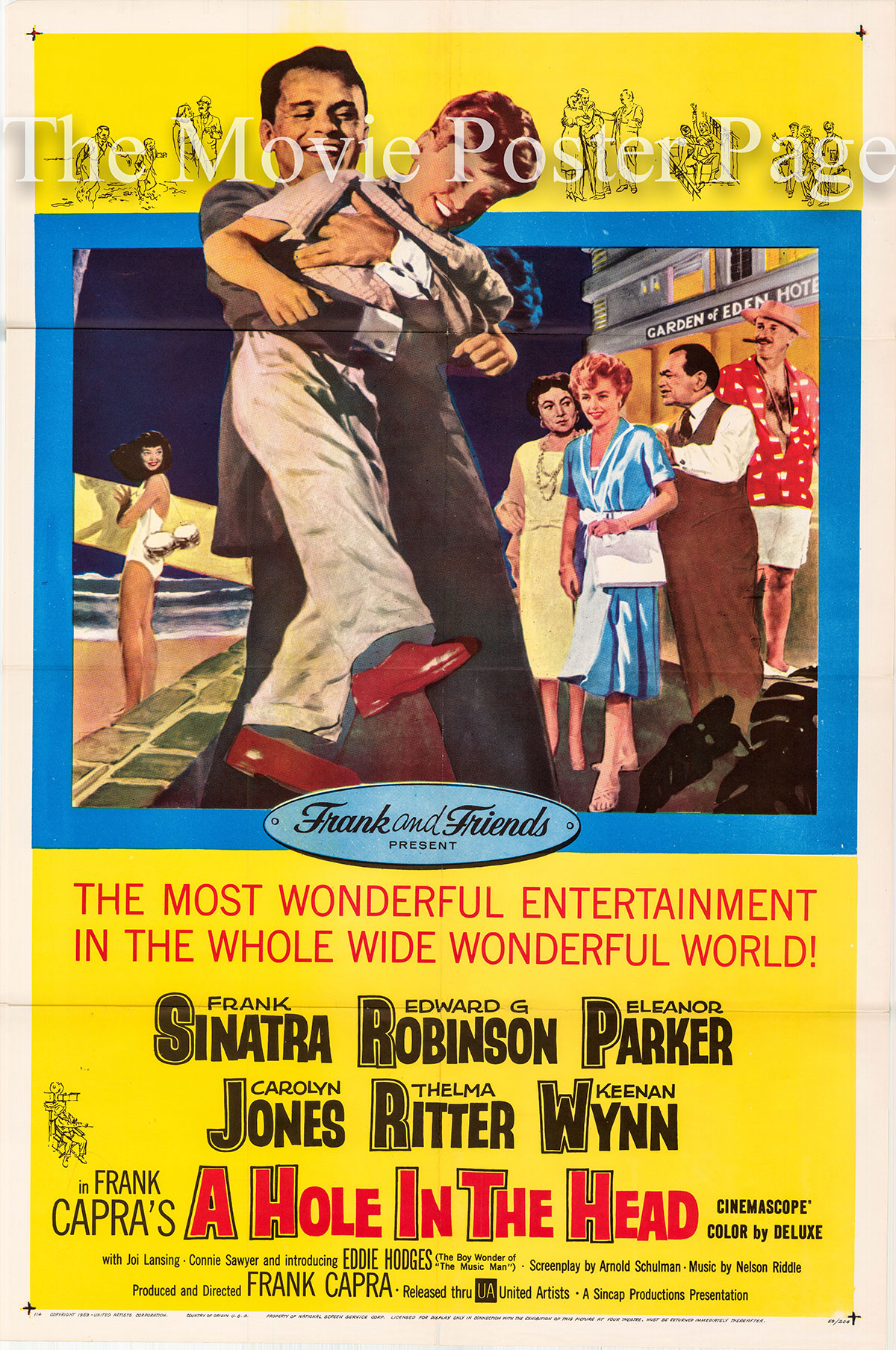 Pictured is a US one-sheet poster for the 1959 Frank Capra film A Hole in the Head starring Frank Sinatra.