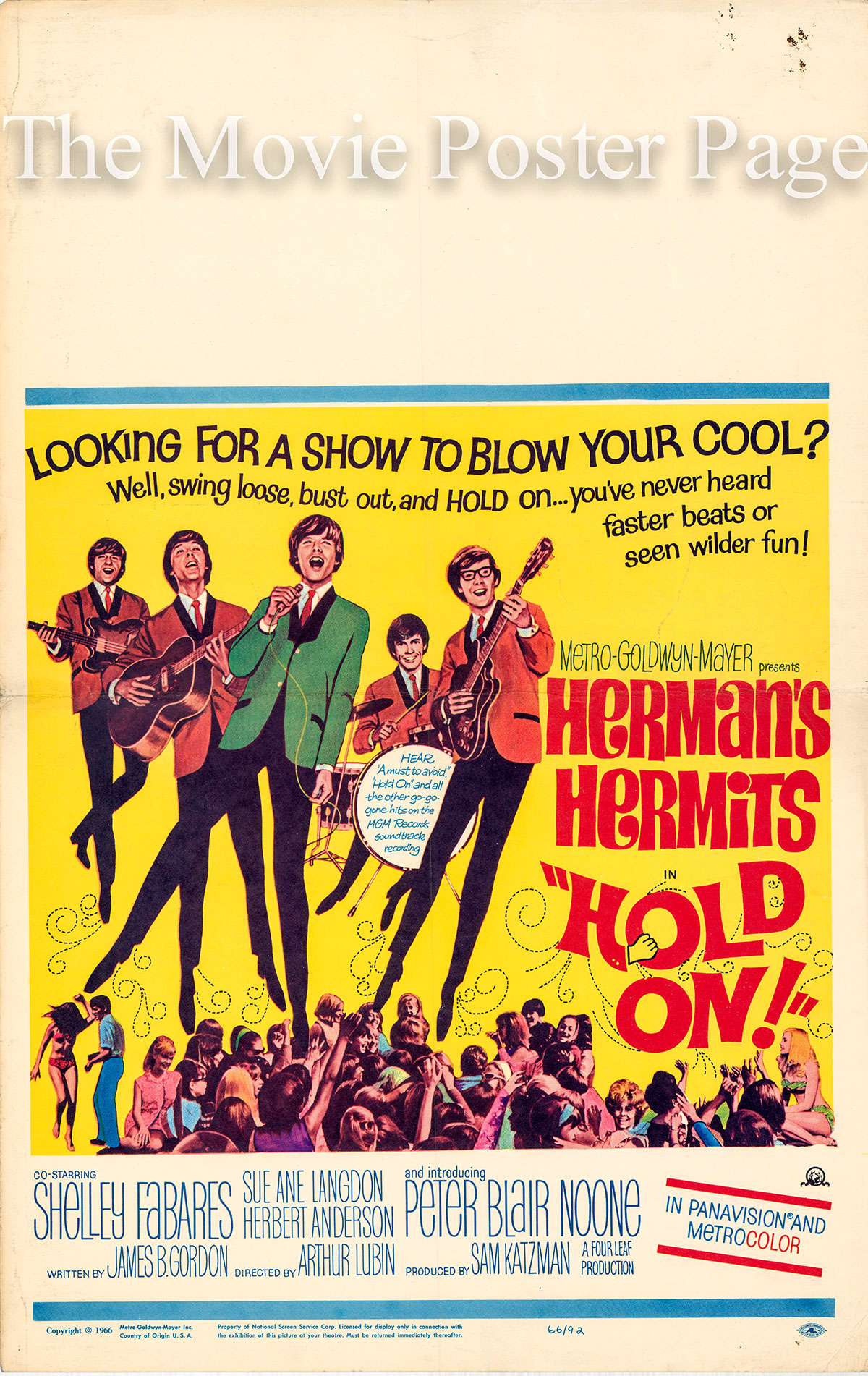 Pictured is a US window card for the 1966 Arthur Lubin film Hold On starring Herman's Hermits.