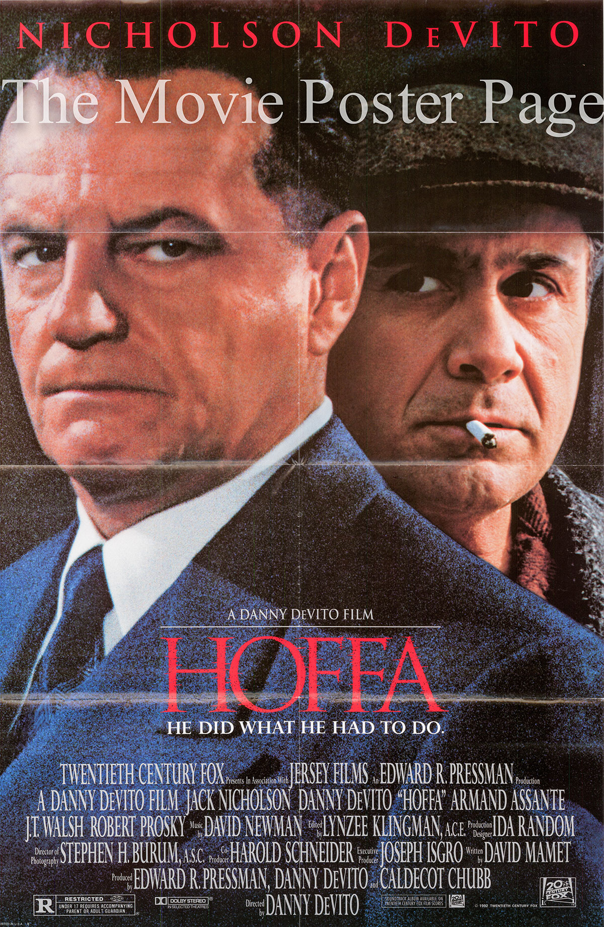 Pictured is the 1992 Danny DeVito film Hoffa starring Jack Nicholson as Jimmy Hoffa.