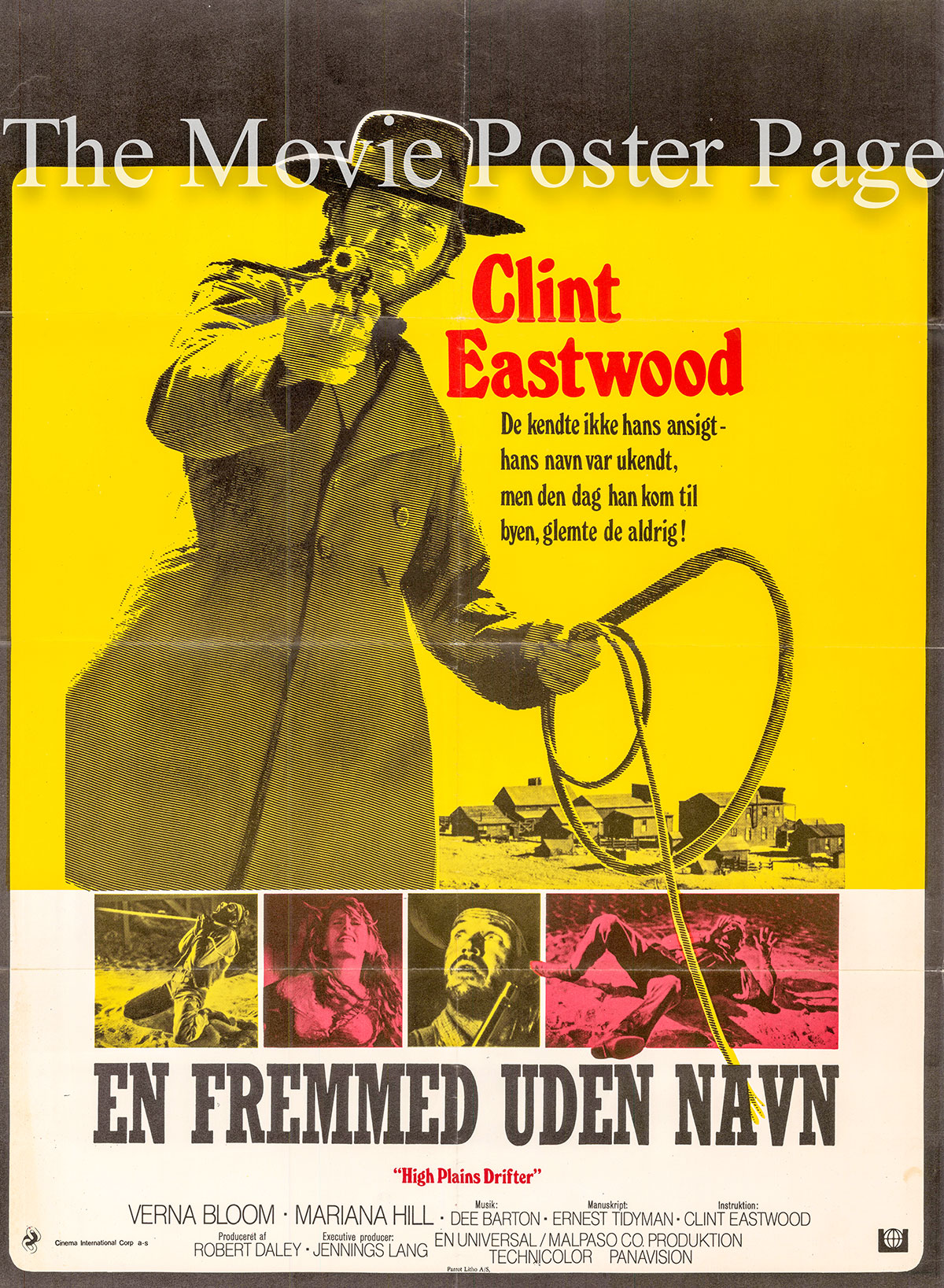 Pictured is a German one-sheet poster for the 1973 Clint EAstwood film High Plains Drifter starring Clint Eastwood.
