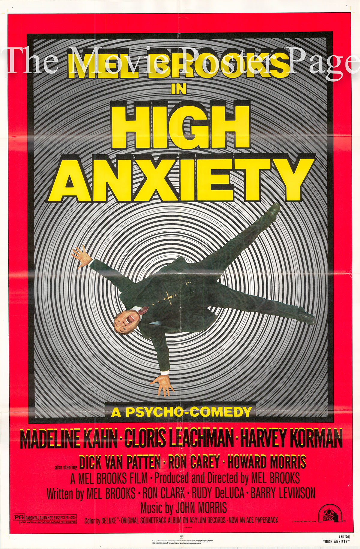 Pictured is a US one-sheet poster for the 1977 Mel Brooks film High Anxiety starring Madeline Kahn as Victoria Brisbane.
