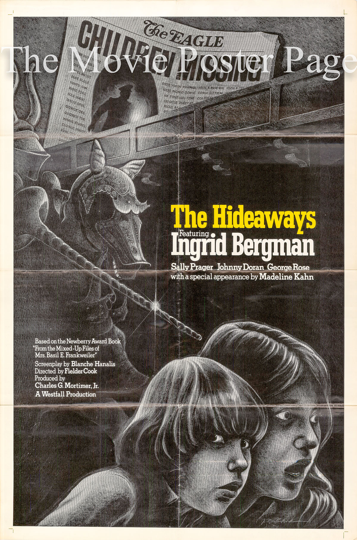 Pictured is a US one-sheet poster for the 1973 Fielder Cook film The Hideaways starring Ingrid Bergman.