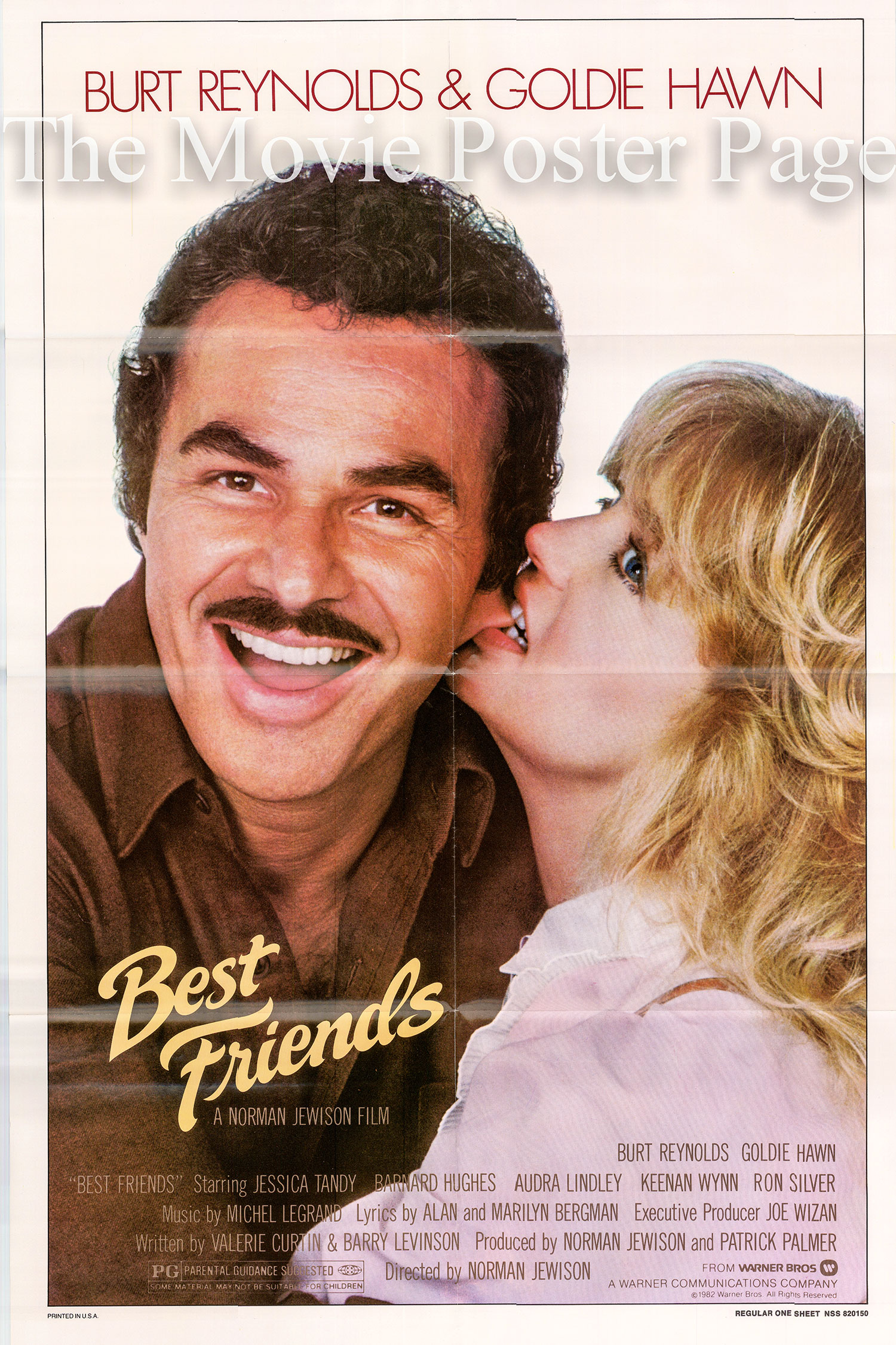 Pictured is a US one-sheet poster for the 1982 Norman Jewison film Best Friends starring Burt Reynolds.