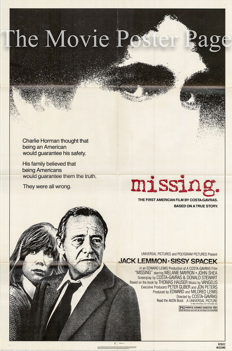 Pictured is a US one-sheet poster for the 1982 Costa-Gavras film Missing starring Jack Lemmon as Edmund Horman.