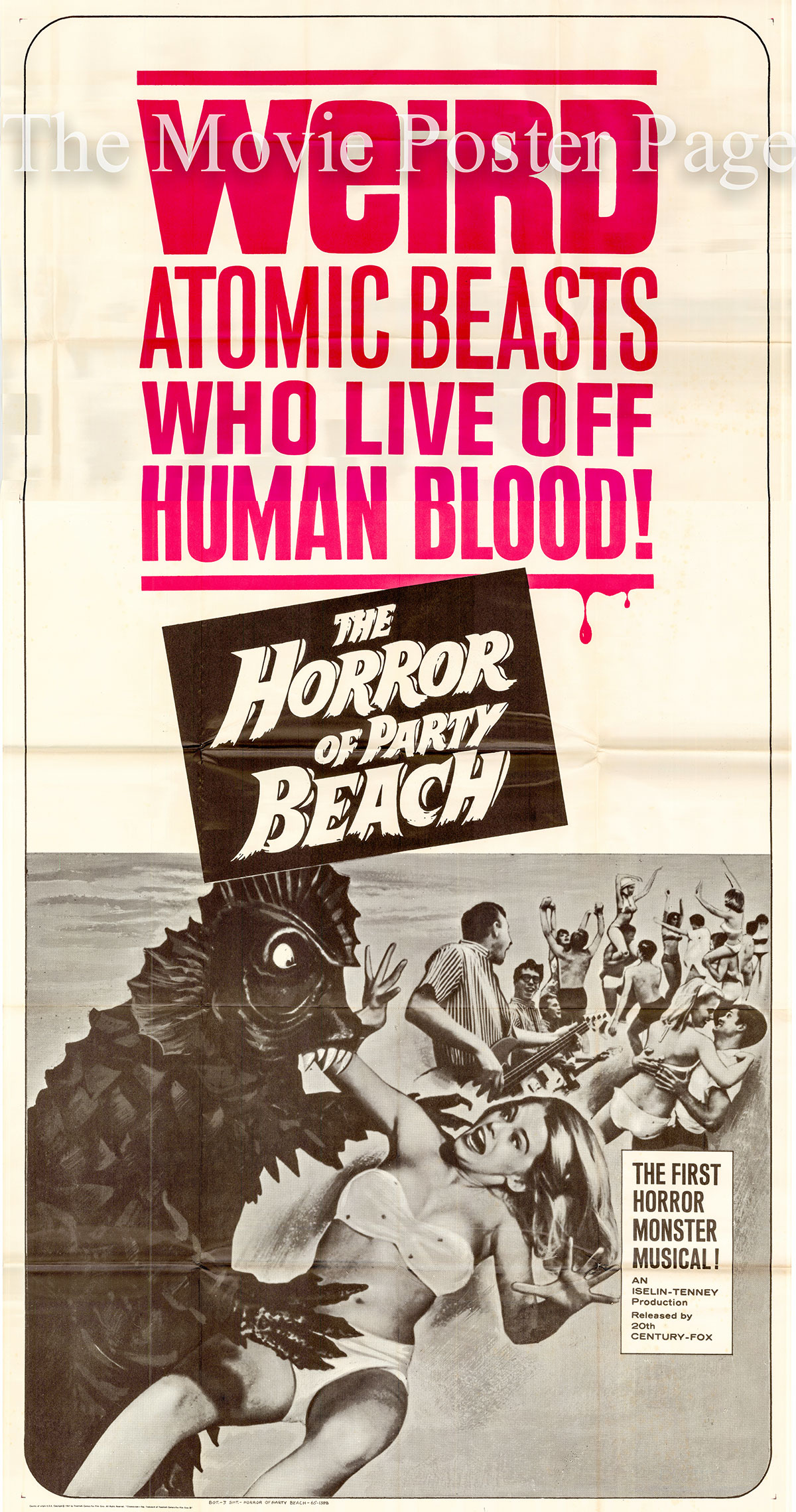 Pictured is a US three-sheet poster for the 1964 Del Tenney film The Horror of Party Beach starring John Scott as Hank Green.