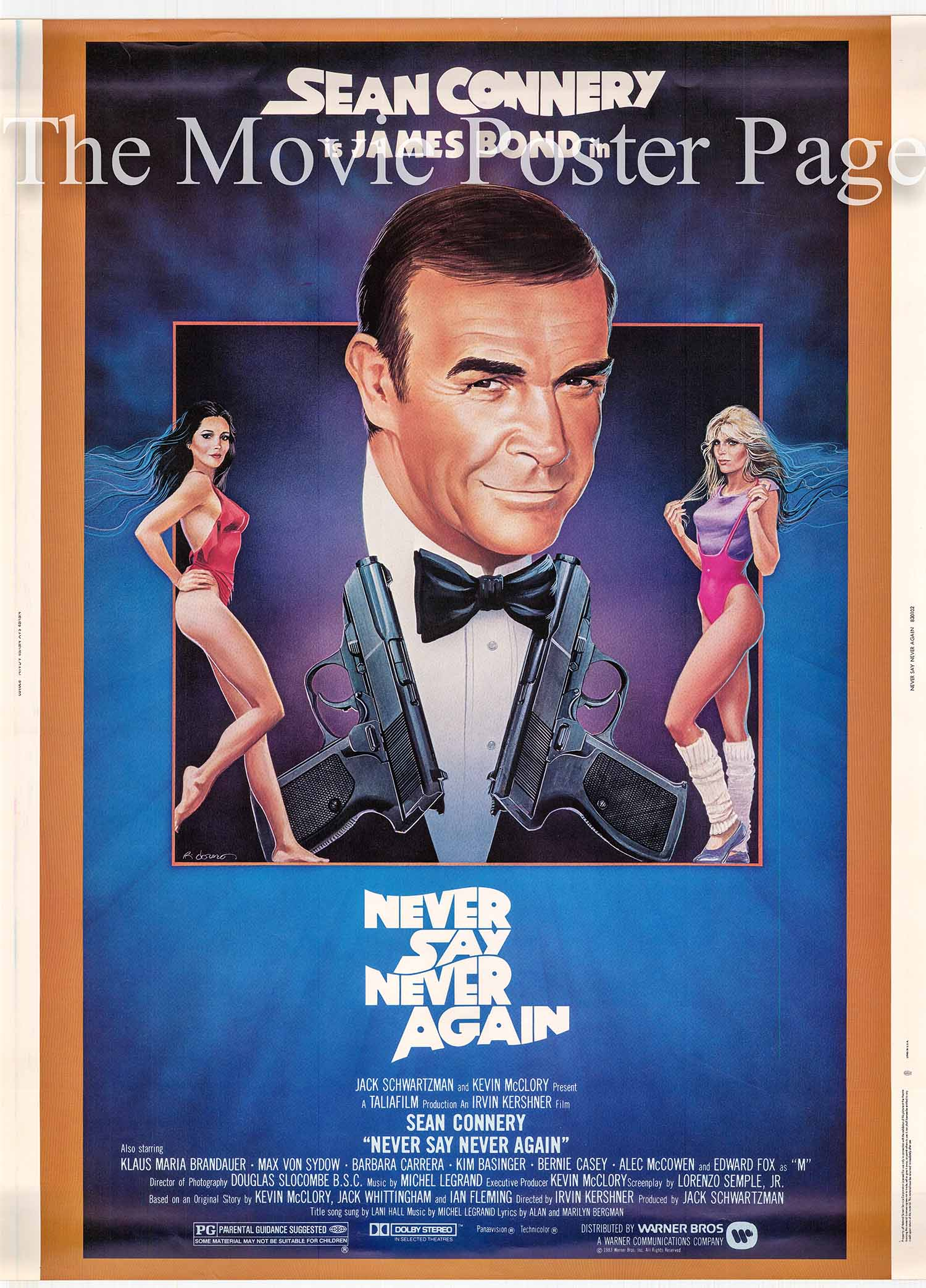Pictured is a US promotional 30x40 poster for the 1983 Irvin Kershner film Never Say Never Again starring Sean Connery.