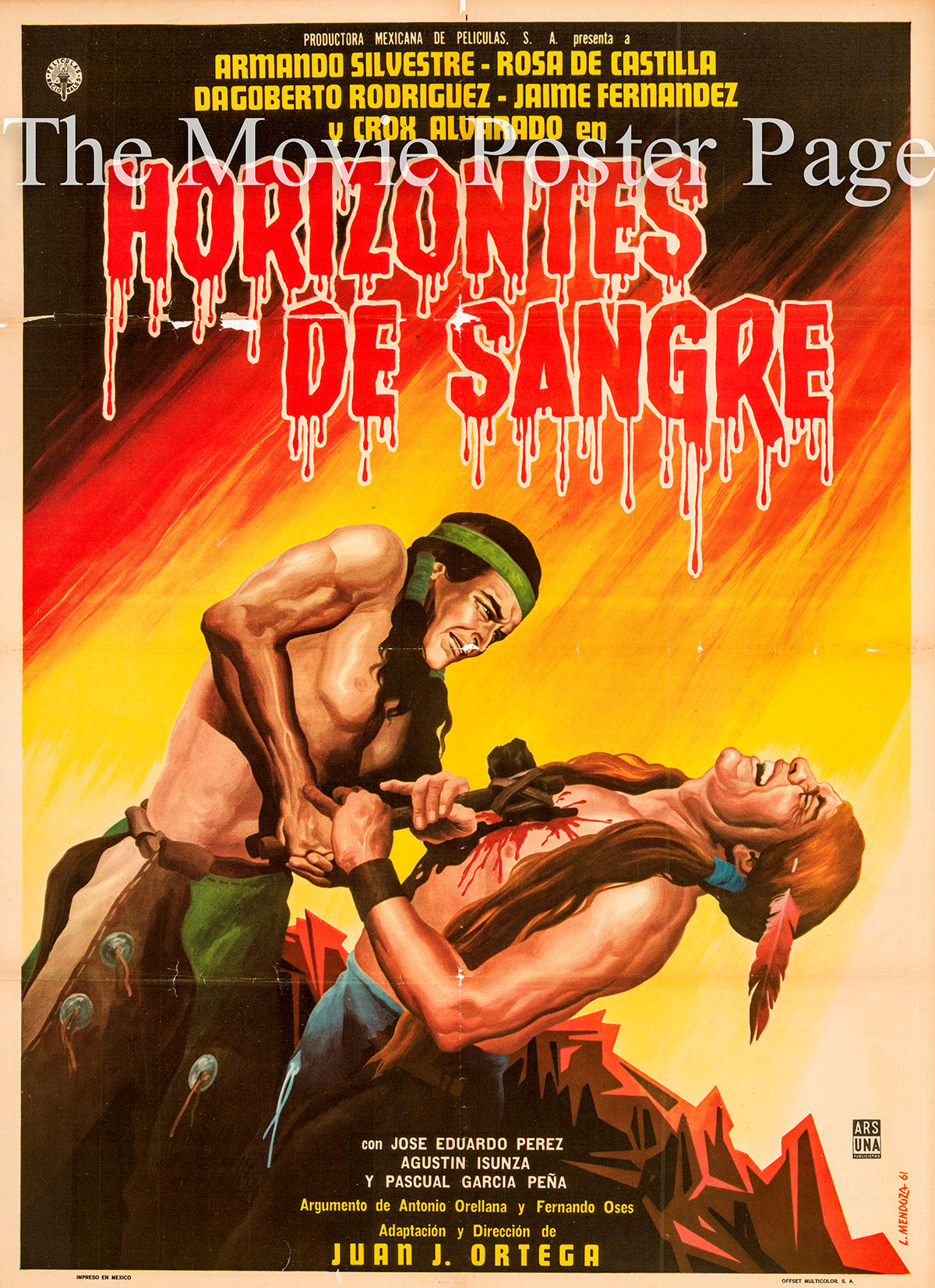 Pictured is a Mexican one-sheet poster forthe 1960 Juan Joes Ortega film Horizontes de Sangre starring Armando Silvestre.