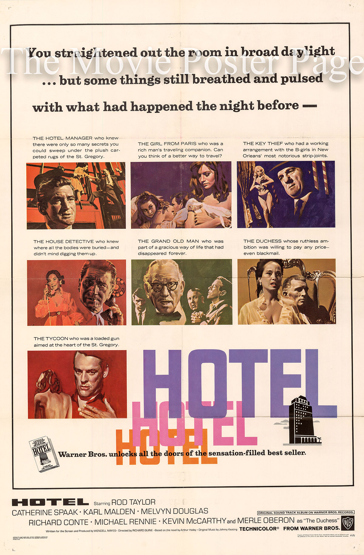 Pictured is a US one-sheet poster for the 1967 Richard Quine film Hotel starring Rod Taylor.