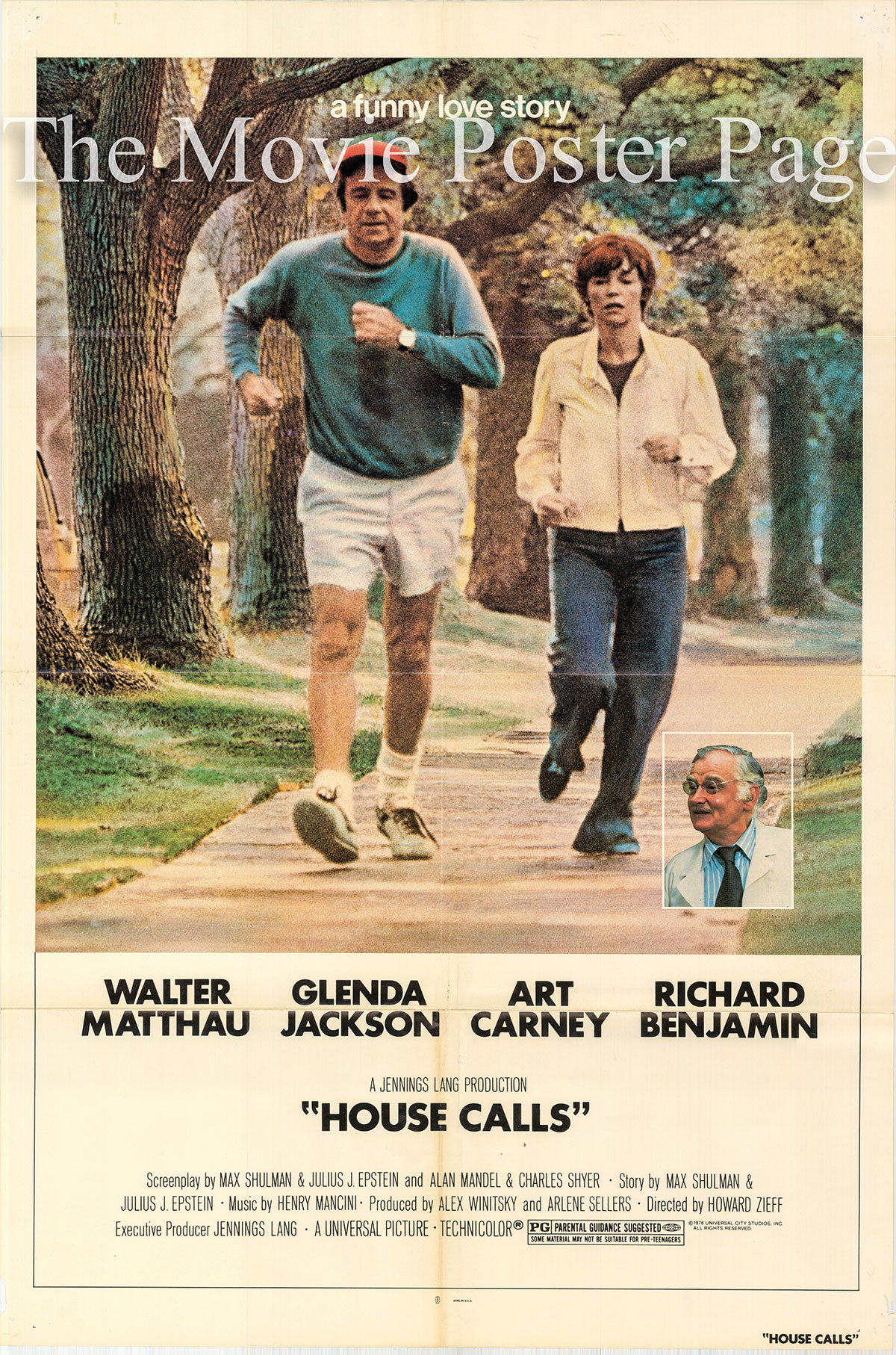 Pictured is a US one-sheet promotional poster for the 1978 Howard Zieff film House Calls starring Walter Matthau.