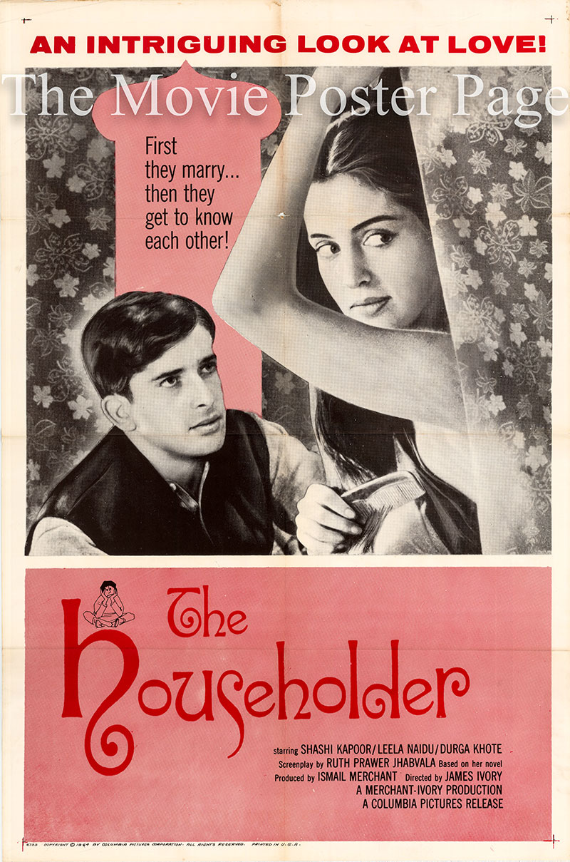 Pictured is a US one-sheet poster for the 1963 James Ivory film The Householder starring Shashi Kapoor.
