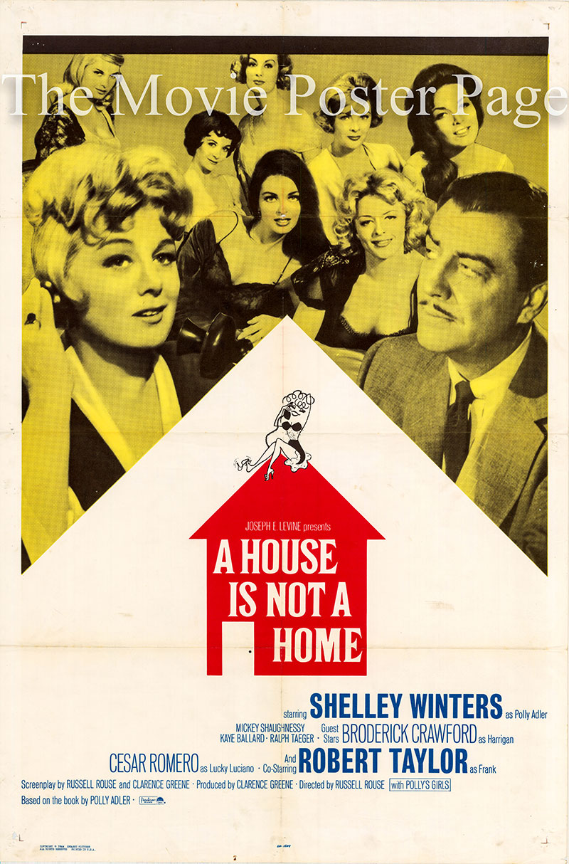 Pictured is a US one-sheet poster for the 1964 Russell Rouse film A House is Not a Home starring Shelley Winters.