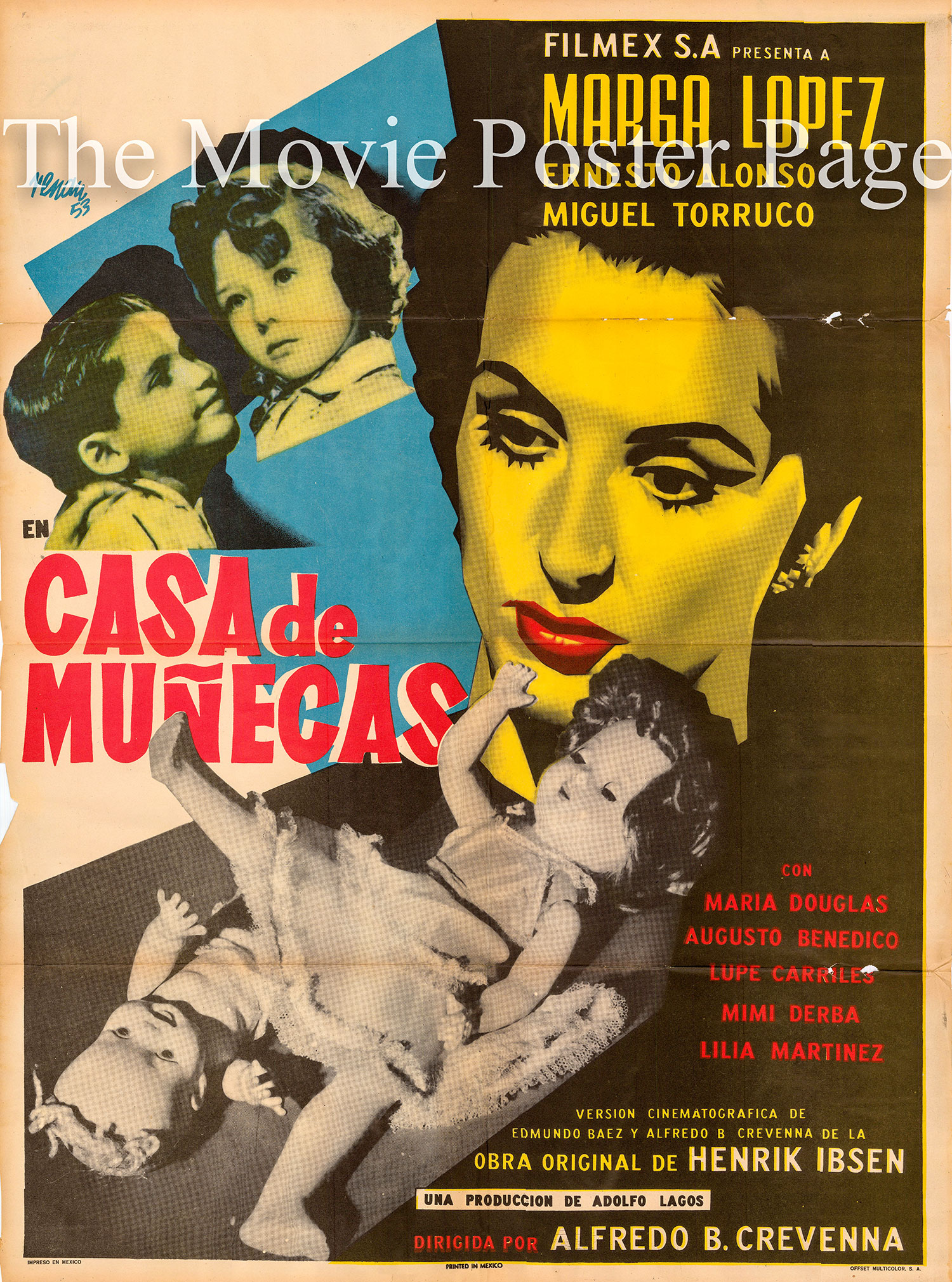 Pictured is a Mexican promotional poster for the 1953 Alfredo B. Crevenna film Casa de Munecas starring Marga Lopez as Nora.