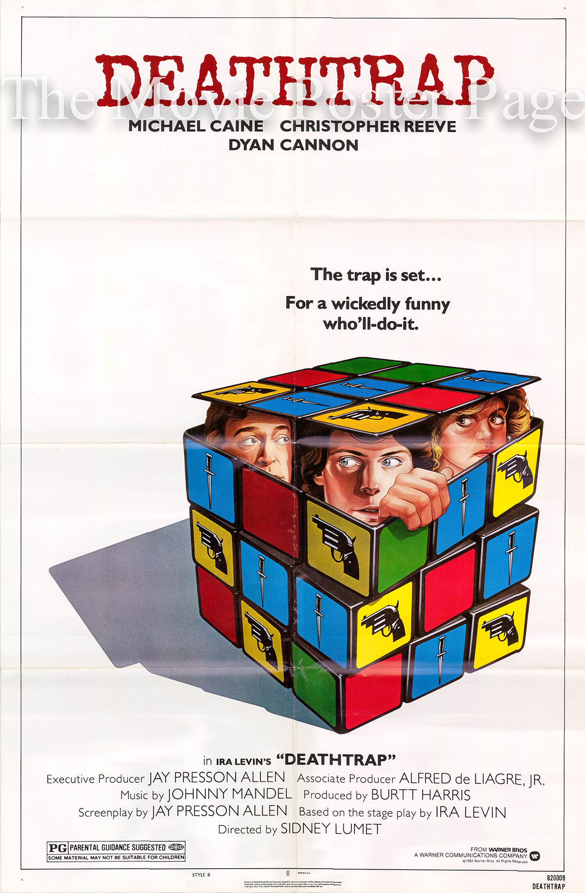 Pictured is a US one-sheet poster for the 1982 Sidney Lumet film Deathtrap starring Michael Caine as Sidney Bruhl.