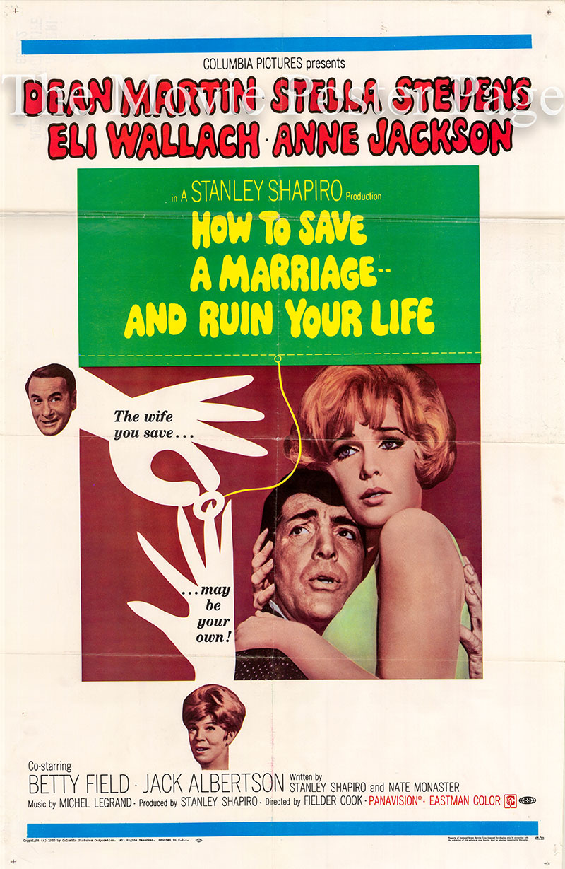 Pictured is a US one-sheet poster for the 1968 Fielder Cook film How to Save a Marriage starring Dean Martin.