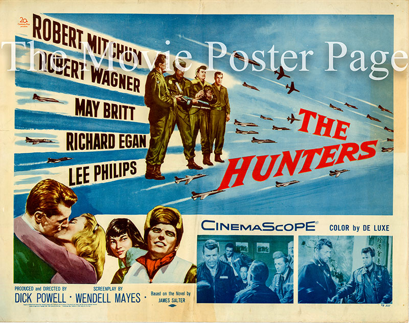 Pictured is a US half-sheet poster for the 1958 Dick Powell film the Hunters starring Robert Mitchum as Major Cleve Saville.