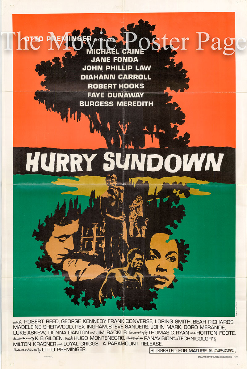 Pictured is a US one-sheet poster for the 1967 Otto Preminger film Hurry Sundown starring Michael Caine.