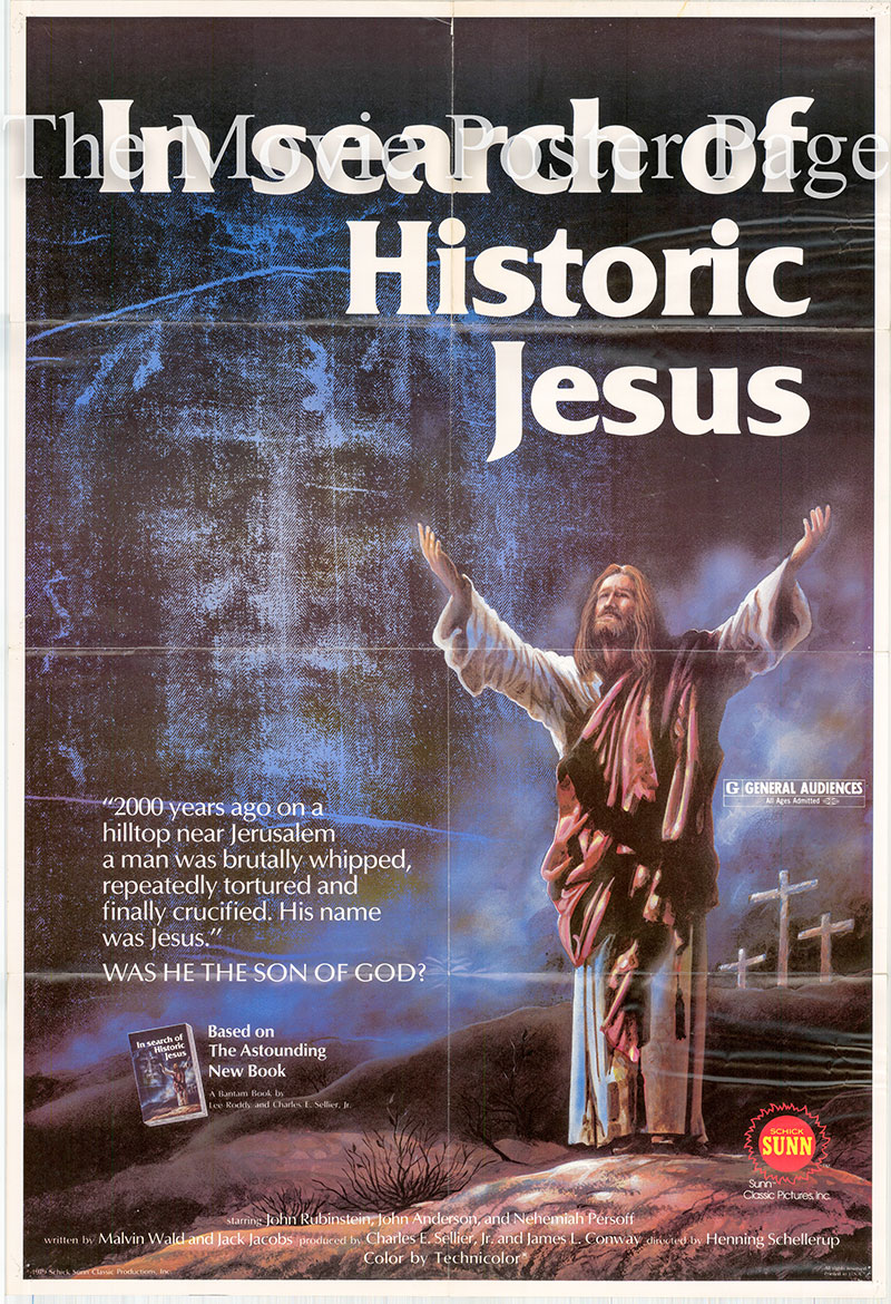 Pictured is a US one-sheet poster for the 1979 Henning Schellerup film In Search of Historic Jesus starring John Rubenstein as Jesus.
