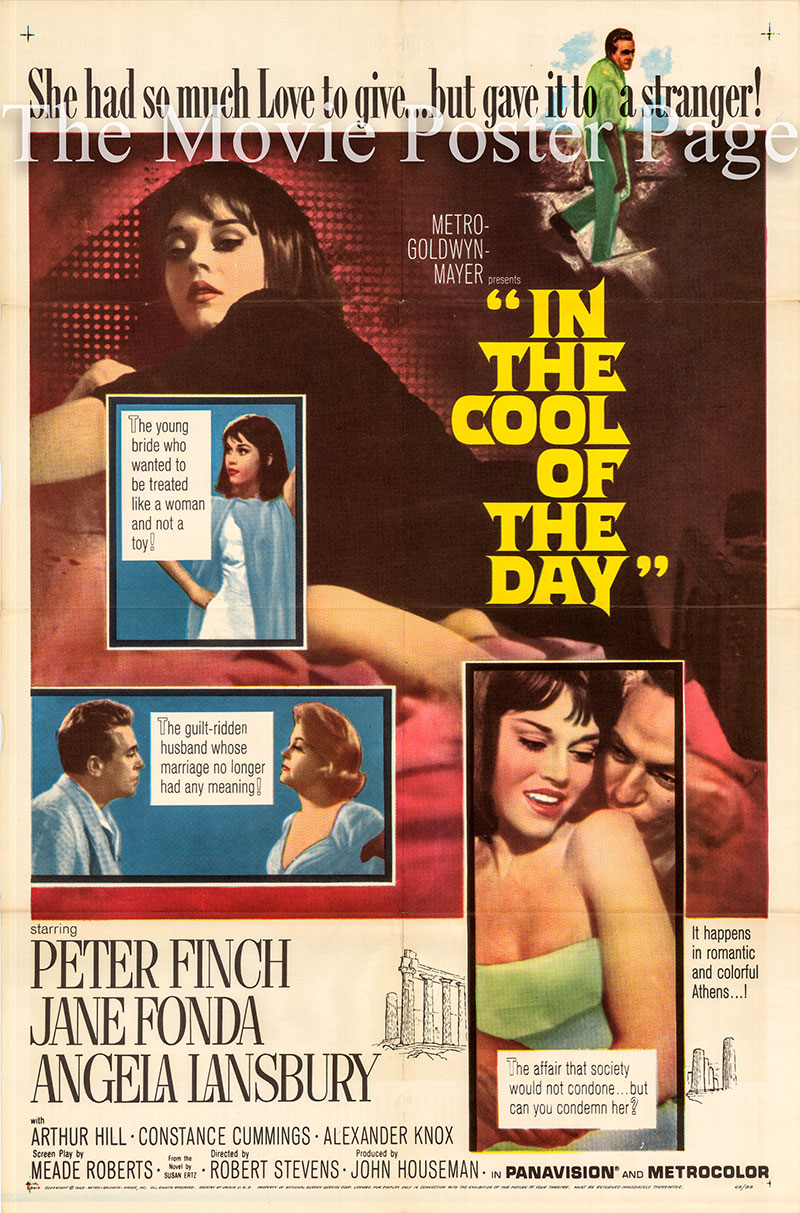 Pictured is a US one-sheet poster for the 1963 Robert Stevens film In the Cool of the Day starring Jane Fonda.