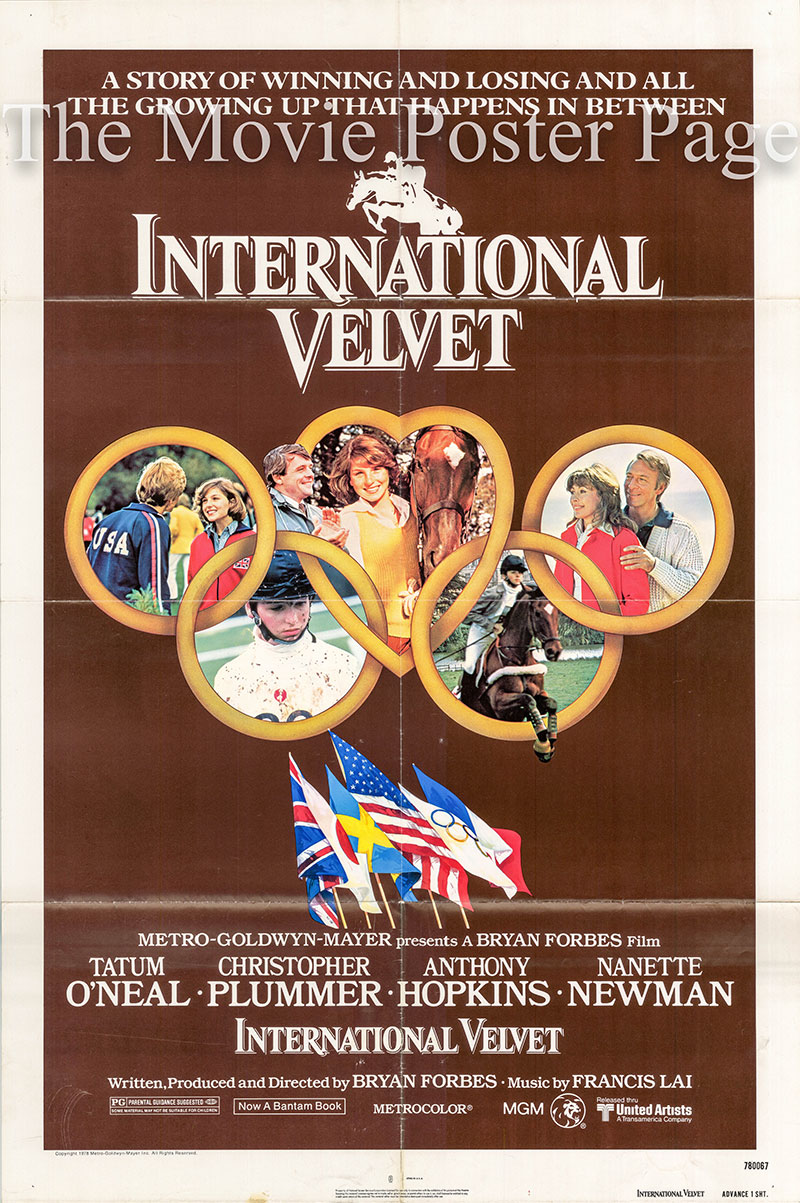 Pictured is a US advance one-sheet poster for the 1978 Bryan Forbes film International Velvet starring Tatum O'Neal.