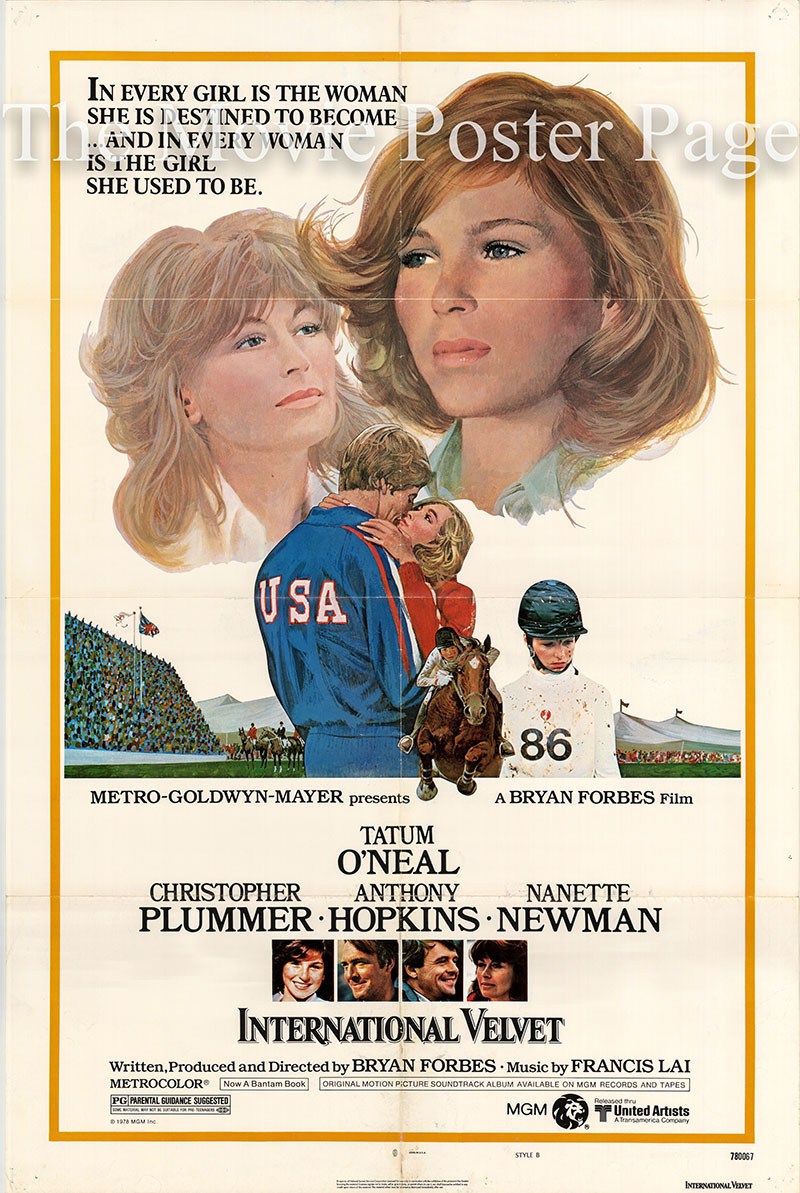 Pictured is a US one-sheet poster for the 1978 Bryan Forbes film International Velvet starring Tatum O'Neal.